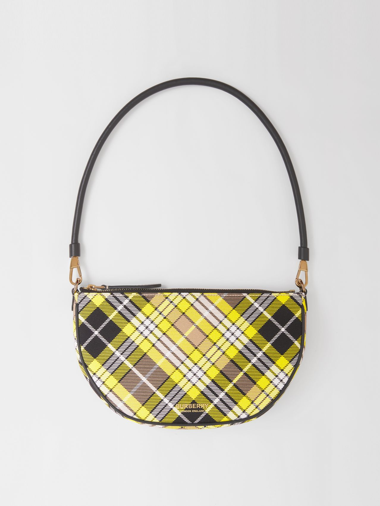 Tartan Cotton Olympia Pouch in Marigold Yellow