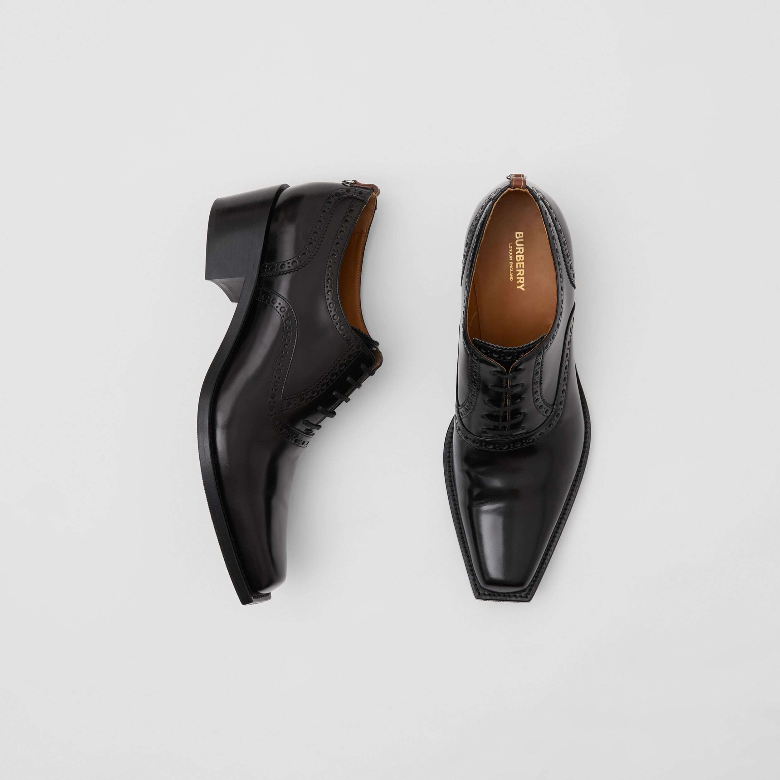 D-ring Detail Leather Heeled Oxford Brogues in Black | Burberry - 1