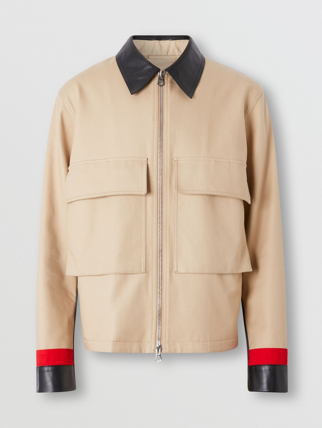 Stripe Detail Cotton Gabardine Field Jacket (Soft Fawn)