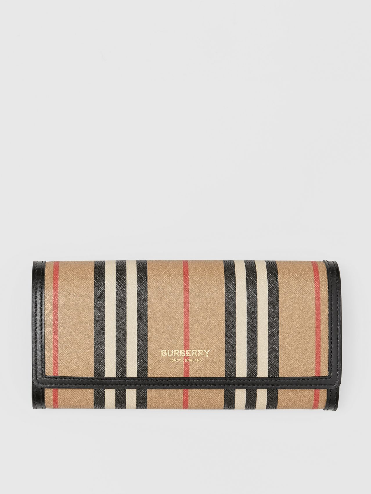 Icon Stripe E-canvas Continental Wallet in Archive Beige