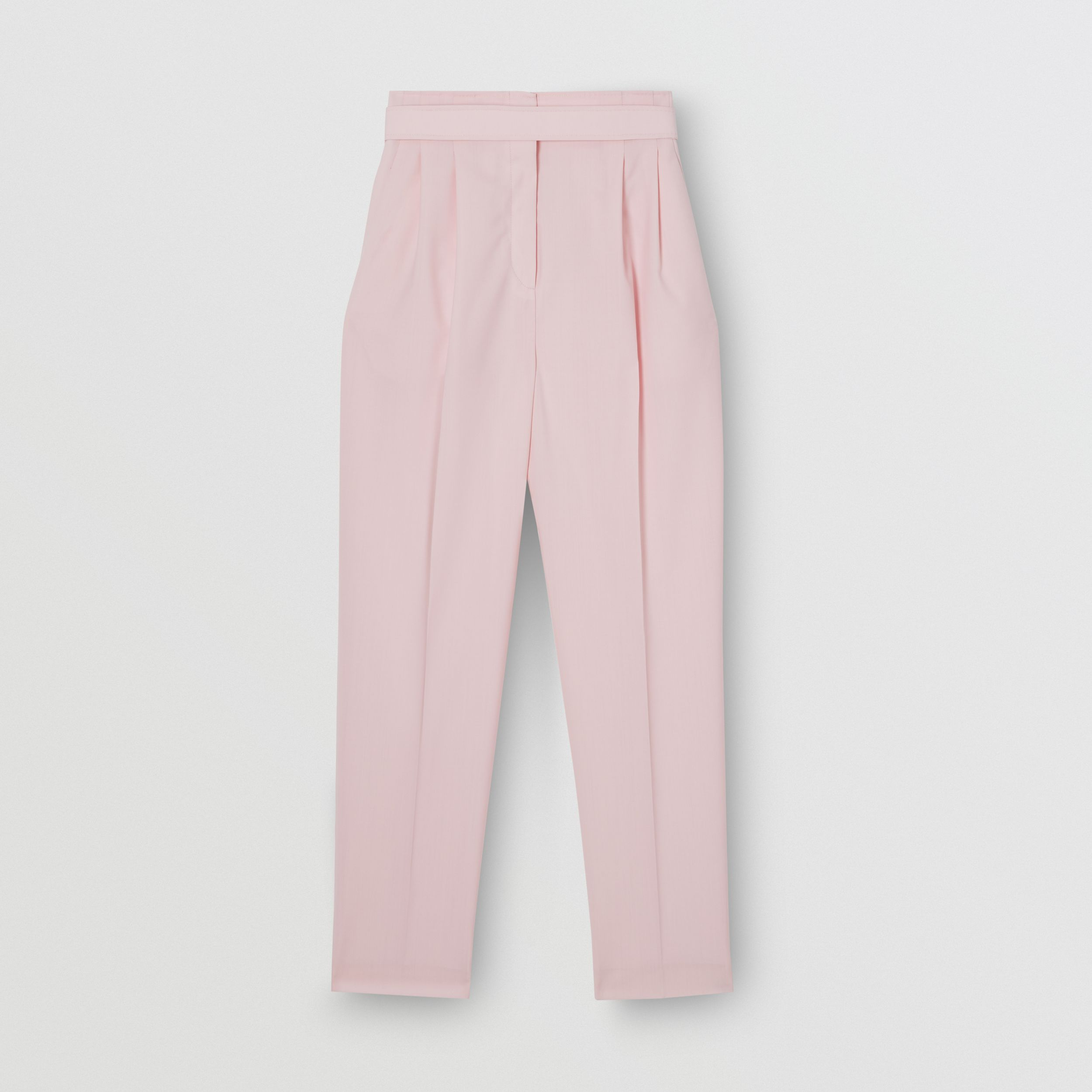 Cut-out Detail Wool Canvas Tailored Trousers in Pastel Pink - Women | Burberry - 2