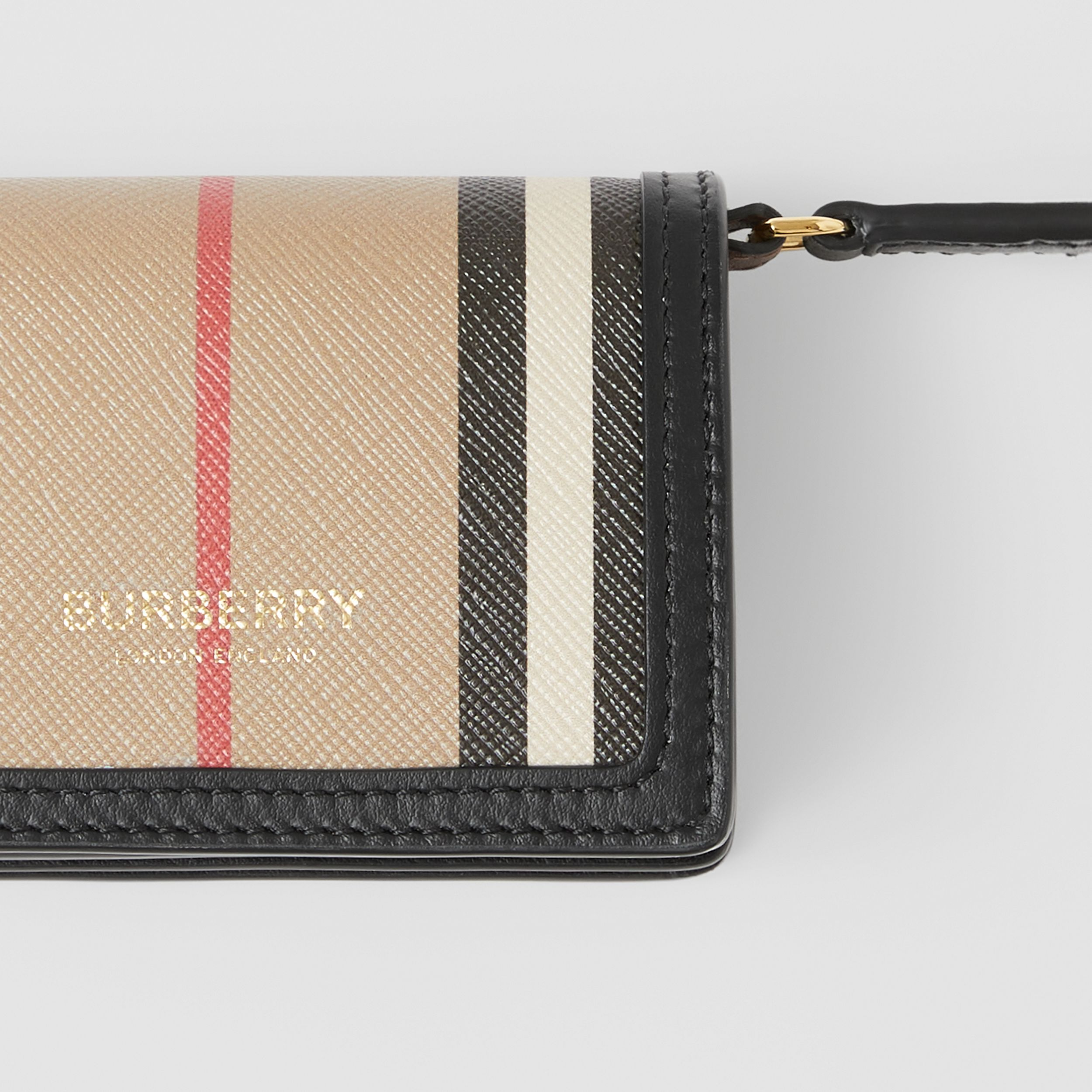 Icon Stripe E-canvas Card Case with Detachable Strap in Archive Beige - Women | Burberry - 2
