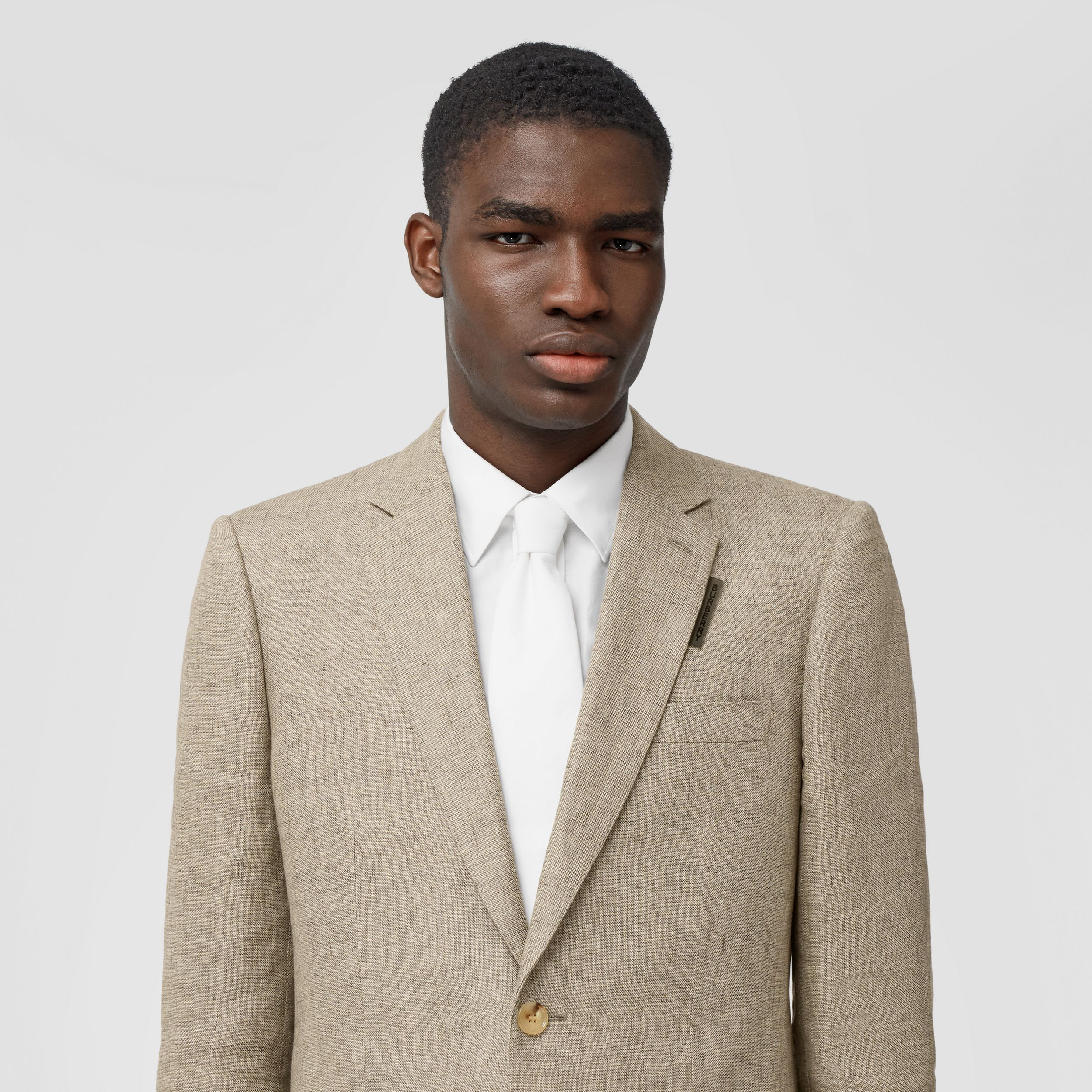 Classic Fit Linen Tailored Jacket in Cedar Brown Melange - Men | Burberry Singapore - 2