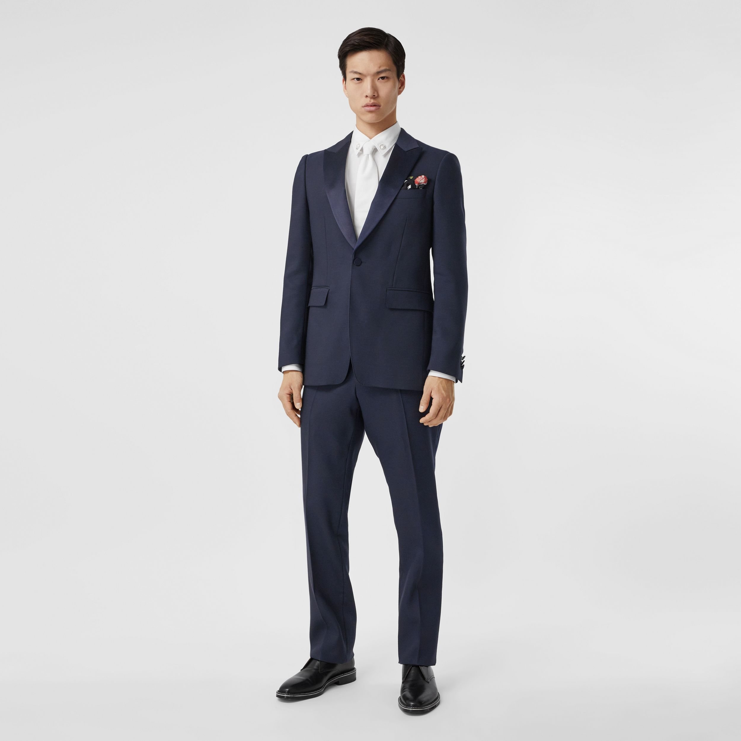 Classic Fit Wool Silk Blend Tailored Trousers in Navy - Men | Burberry - 1