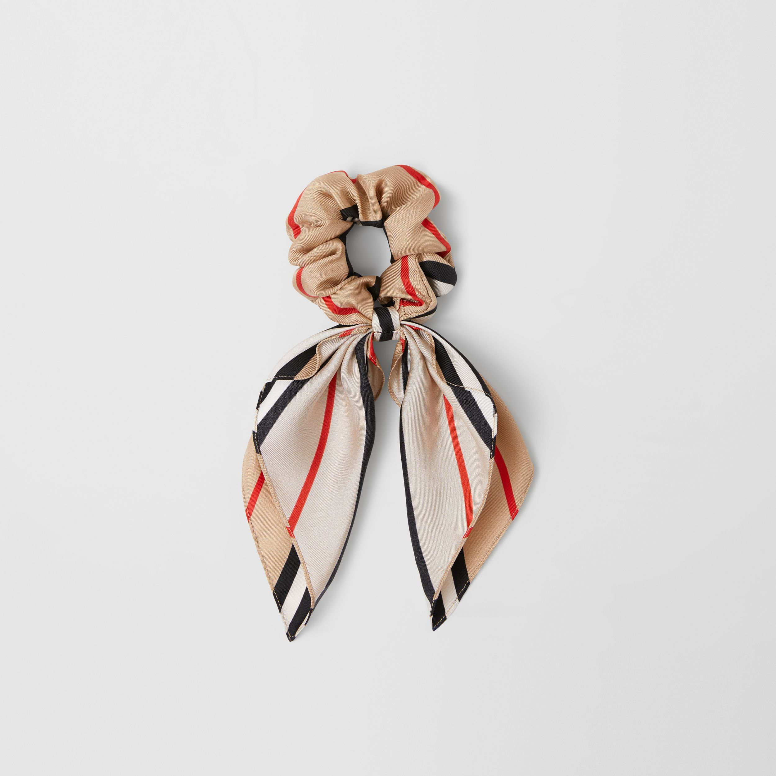 Icon Stripe Silk Twill Hair Tie in Archive Beige - Children | Burberry United Kingdom - 3