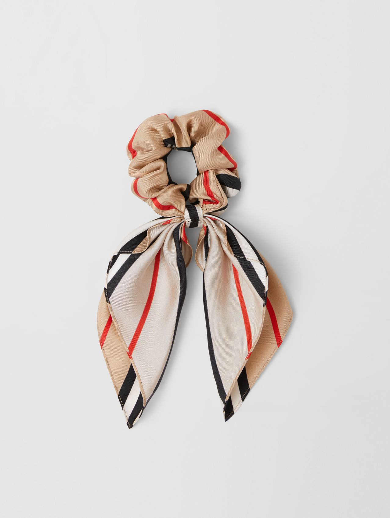 Icon Stripe Silk Twill Hair Tie in Archive Beige