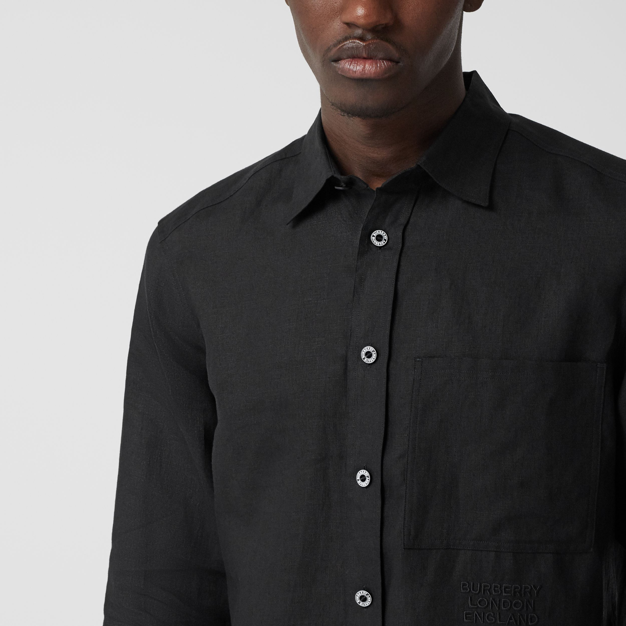 Embroidered Logo Linen Shirt in Black - Men | Burberry Hong Kong S.A.R. - 2