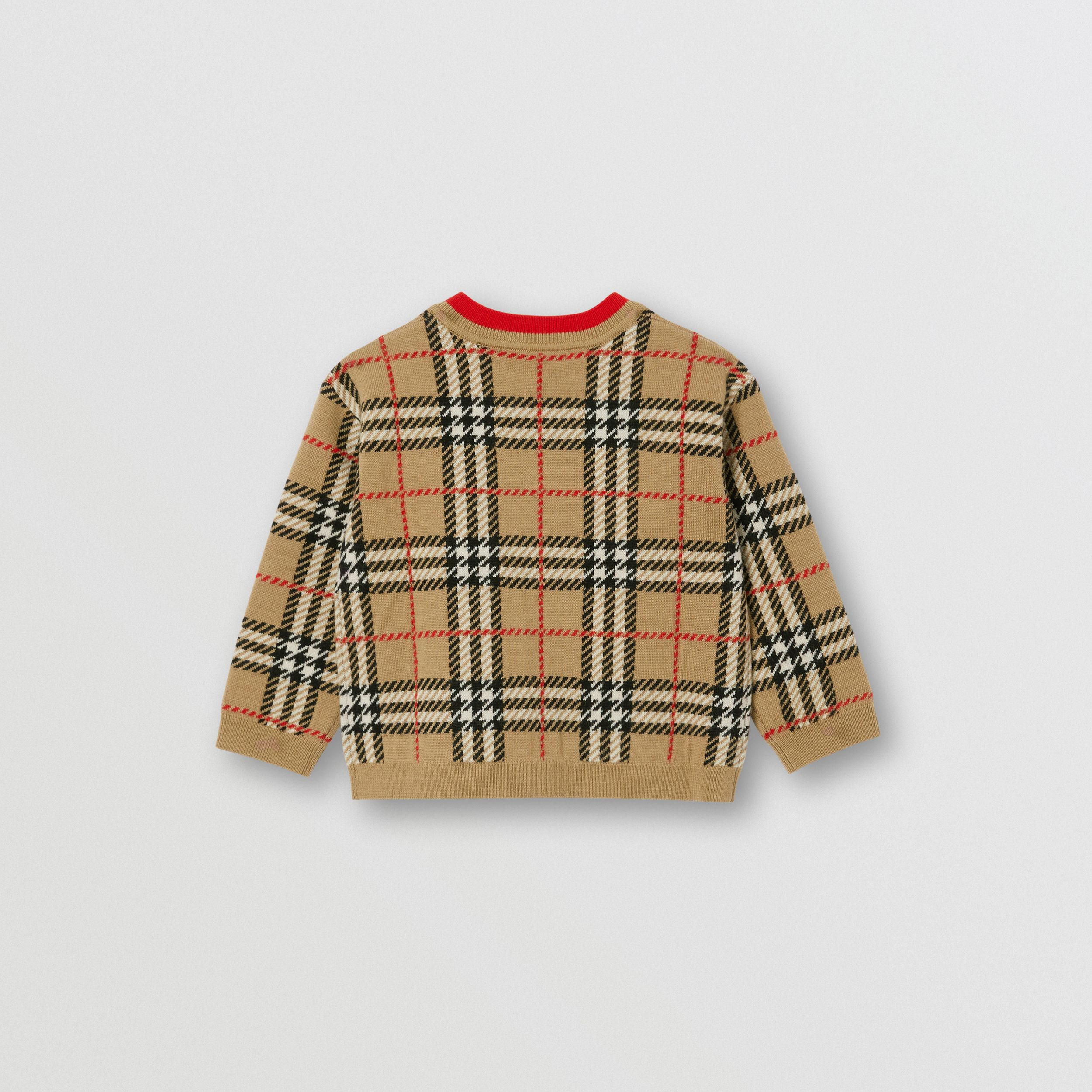 Check Merino Wool Jacquard Cardigan - Children | Burberry United Kingdom - 2