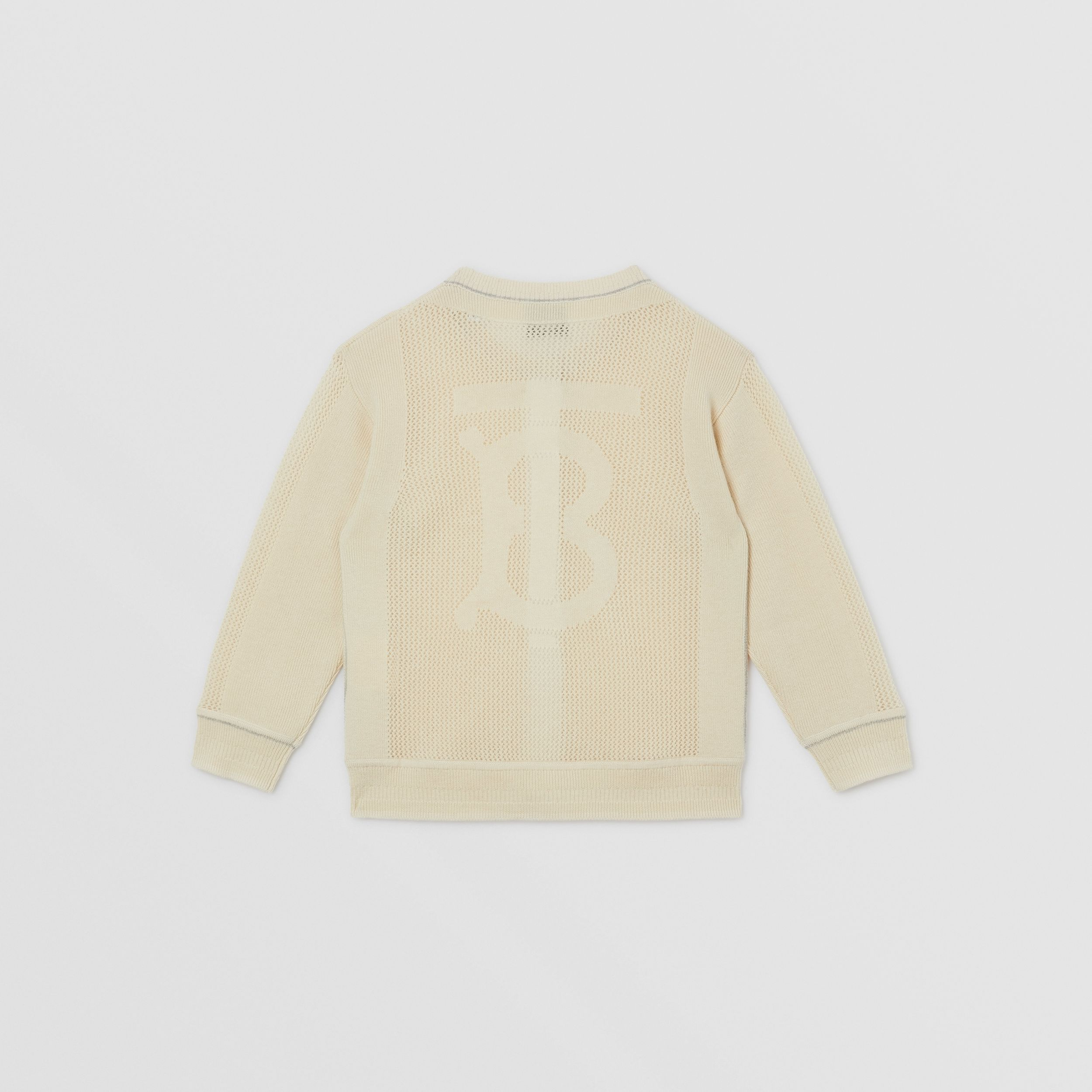 Monogram Motif Knitted Cashmere Cardigan in Ivory | Burberry - 3