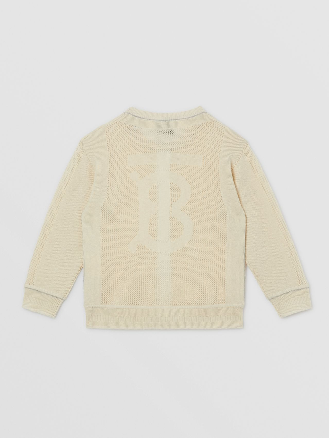 Monogram Motif Knitted Cashmere Cardigan in Ivory