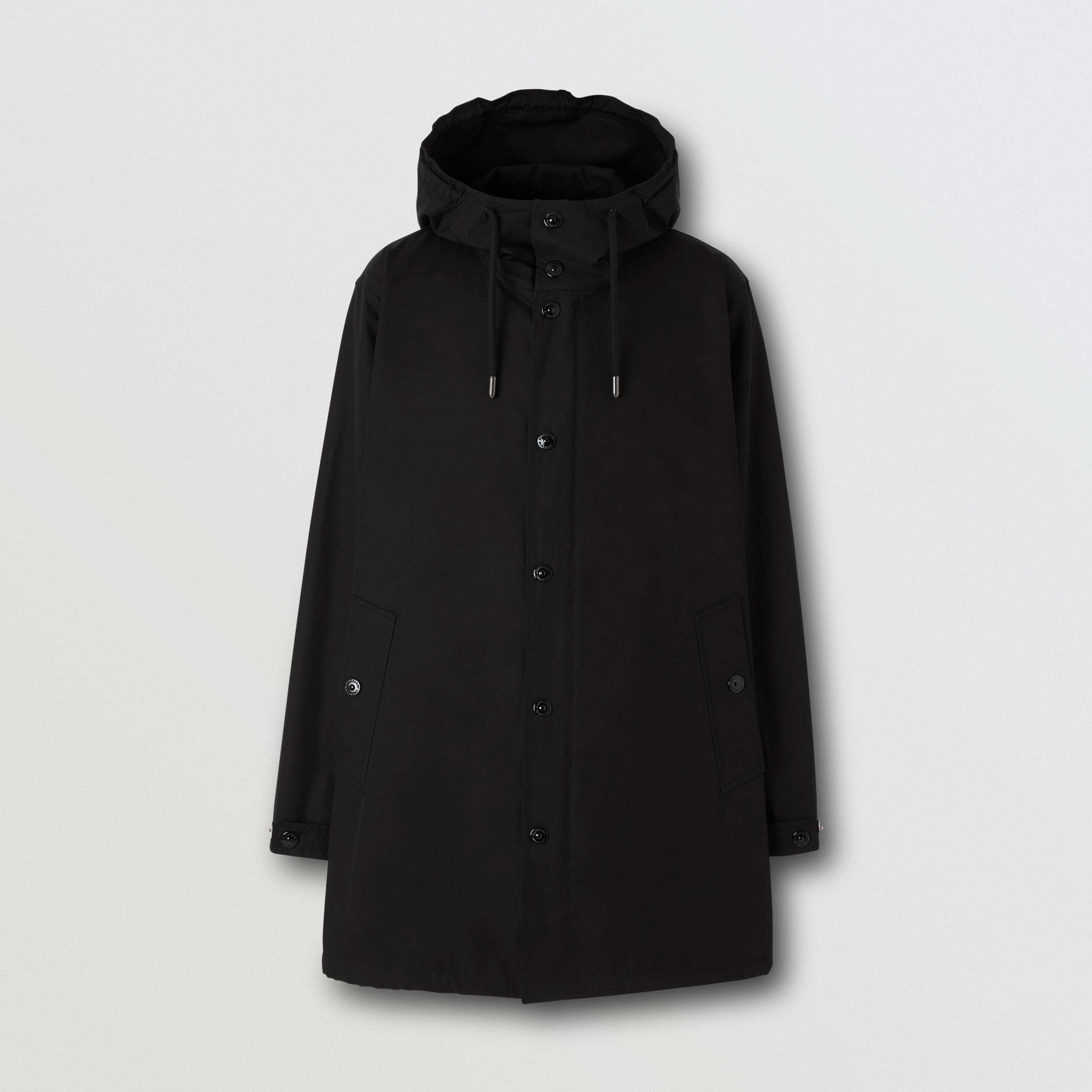 Logo Appliqué Cotton Hooded Coat in Black - Men | Burberry - 4