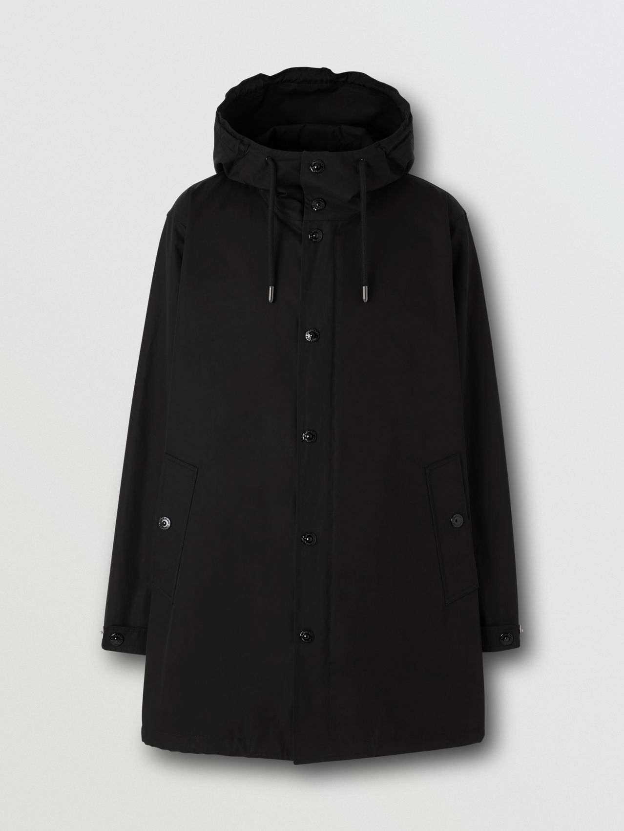 Logo Appliqué Cotton Hooded Coat in Black