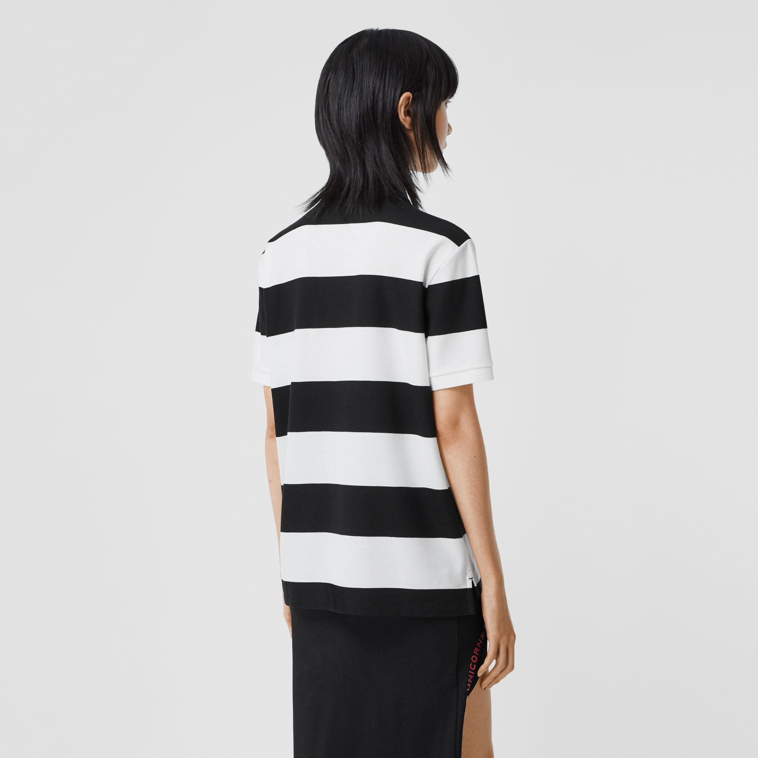 Deer Motif Striped Cotton Piqué Oversized Polo Shirt in Black - Women | Burberry - 3