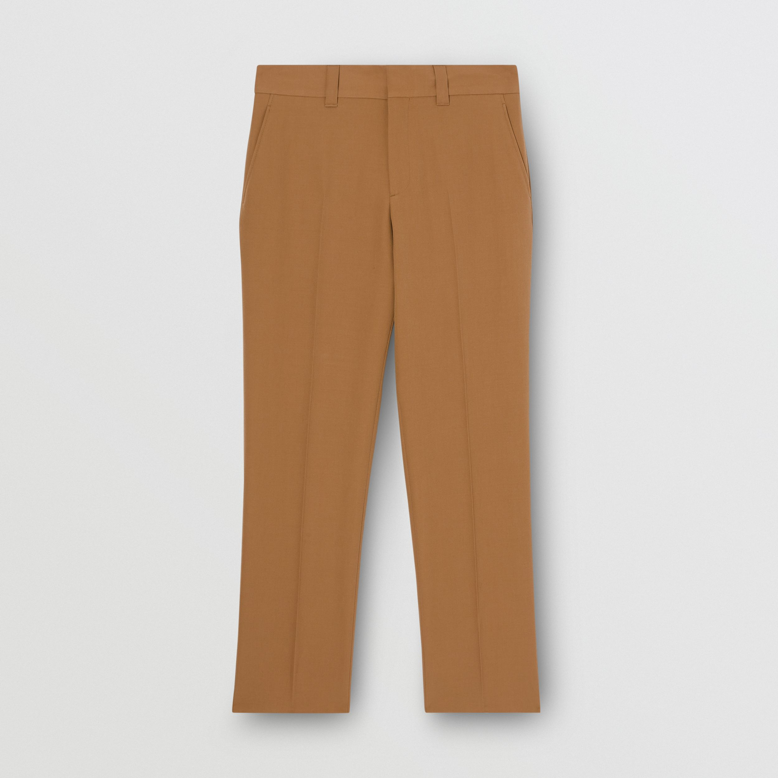 Grain De Poudre Wool Trousers in Fawn - Men | Burberry - 4