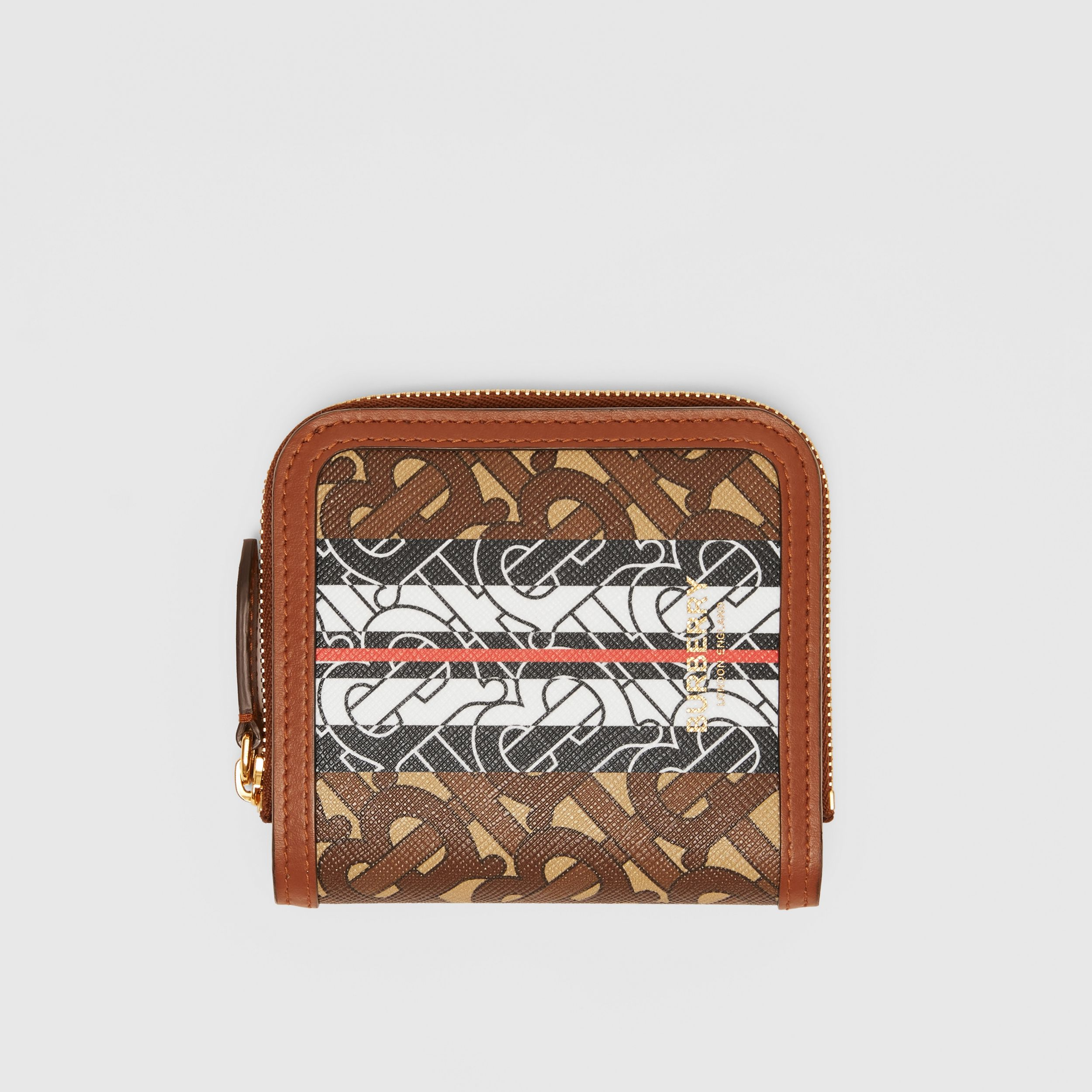 Monogram Stripe E-canvas and Leather Folding Wallet in Bridle Brown - Women | Burberry - 1
