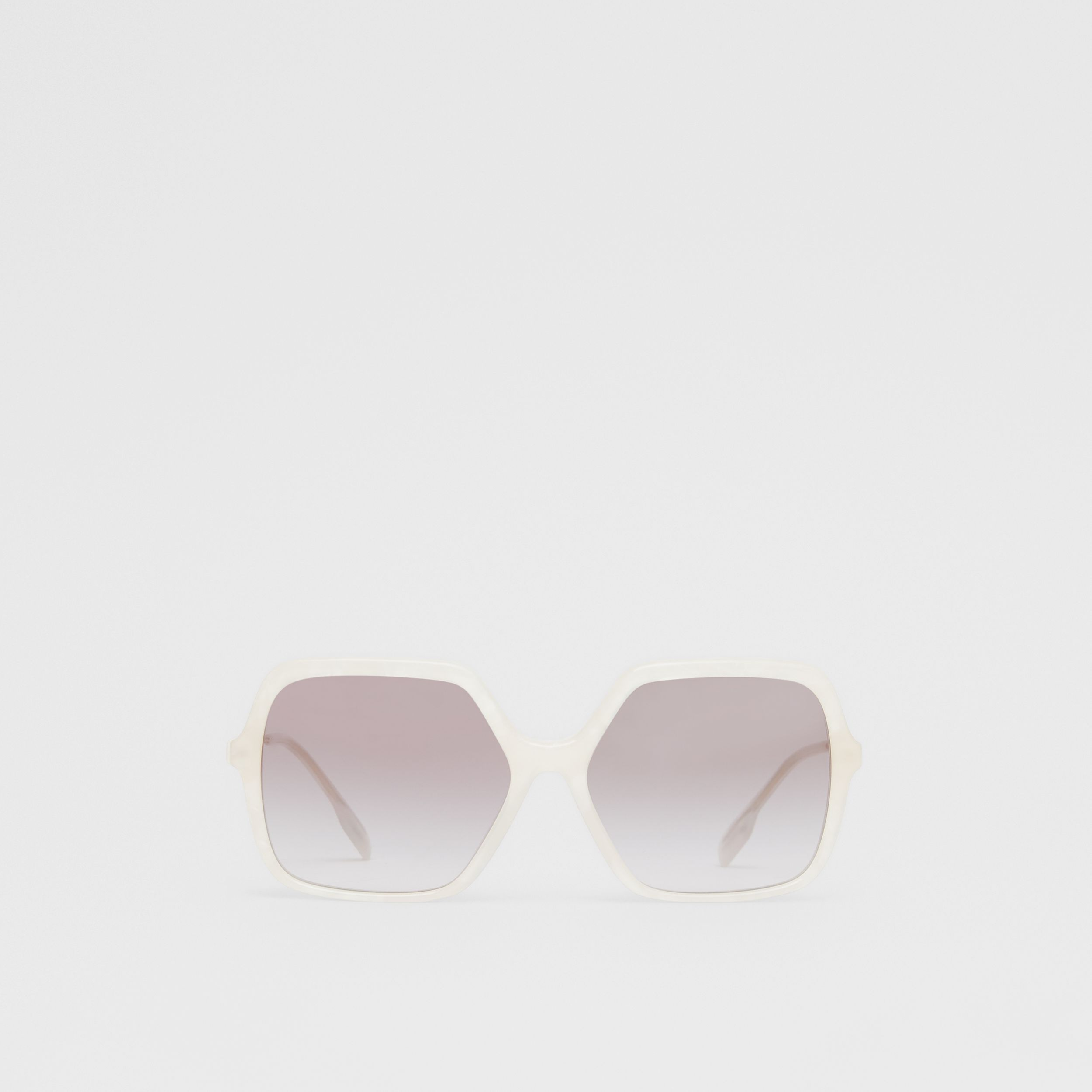 Oversized Square Frame Sunglasses in Pearl - Women | Burberry - 1