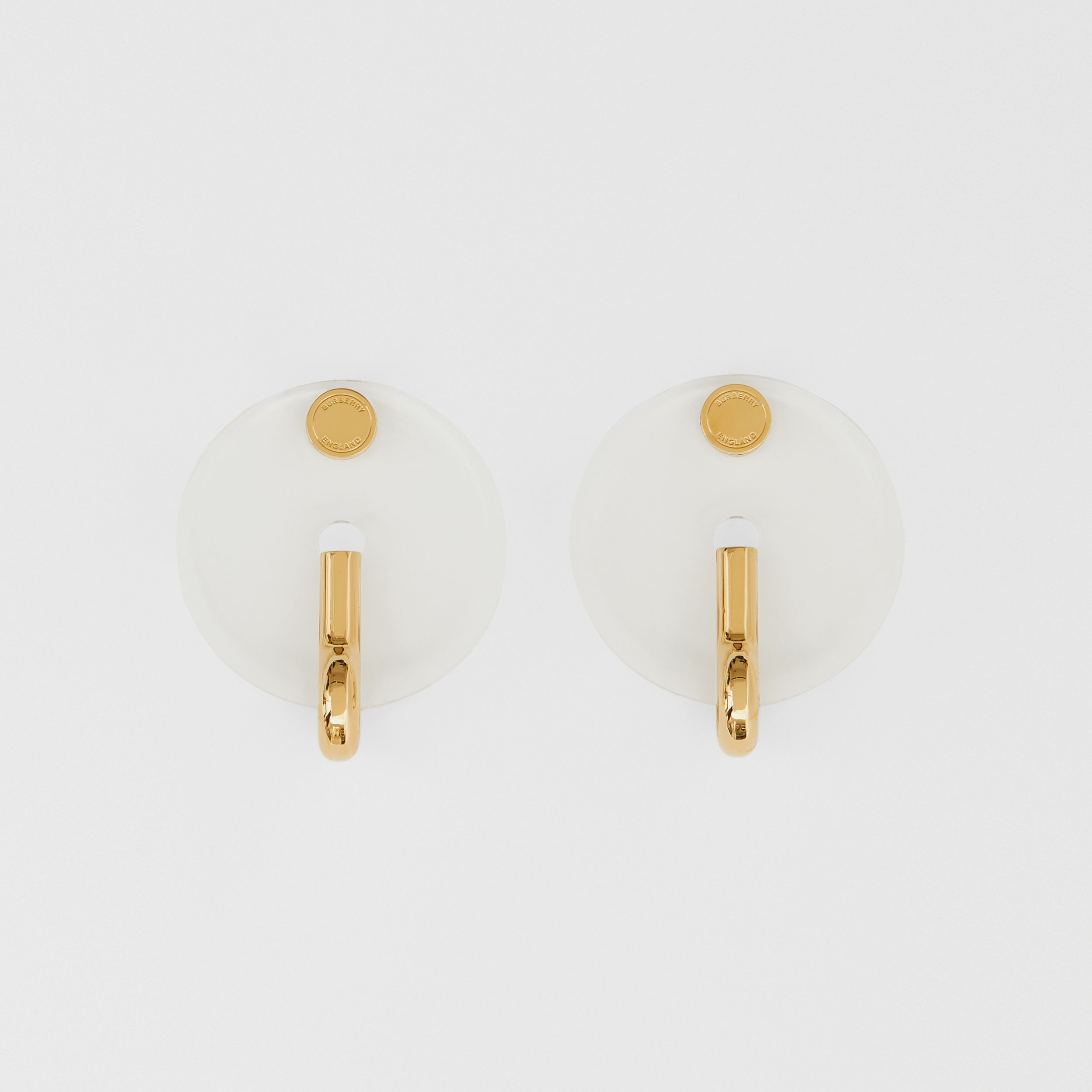 Resin and Gold-plated Disc Earrings in Light Gold/crystal - Women | Burberry - 1