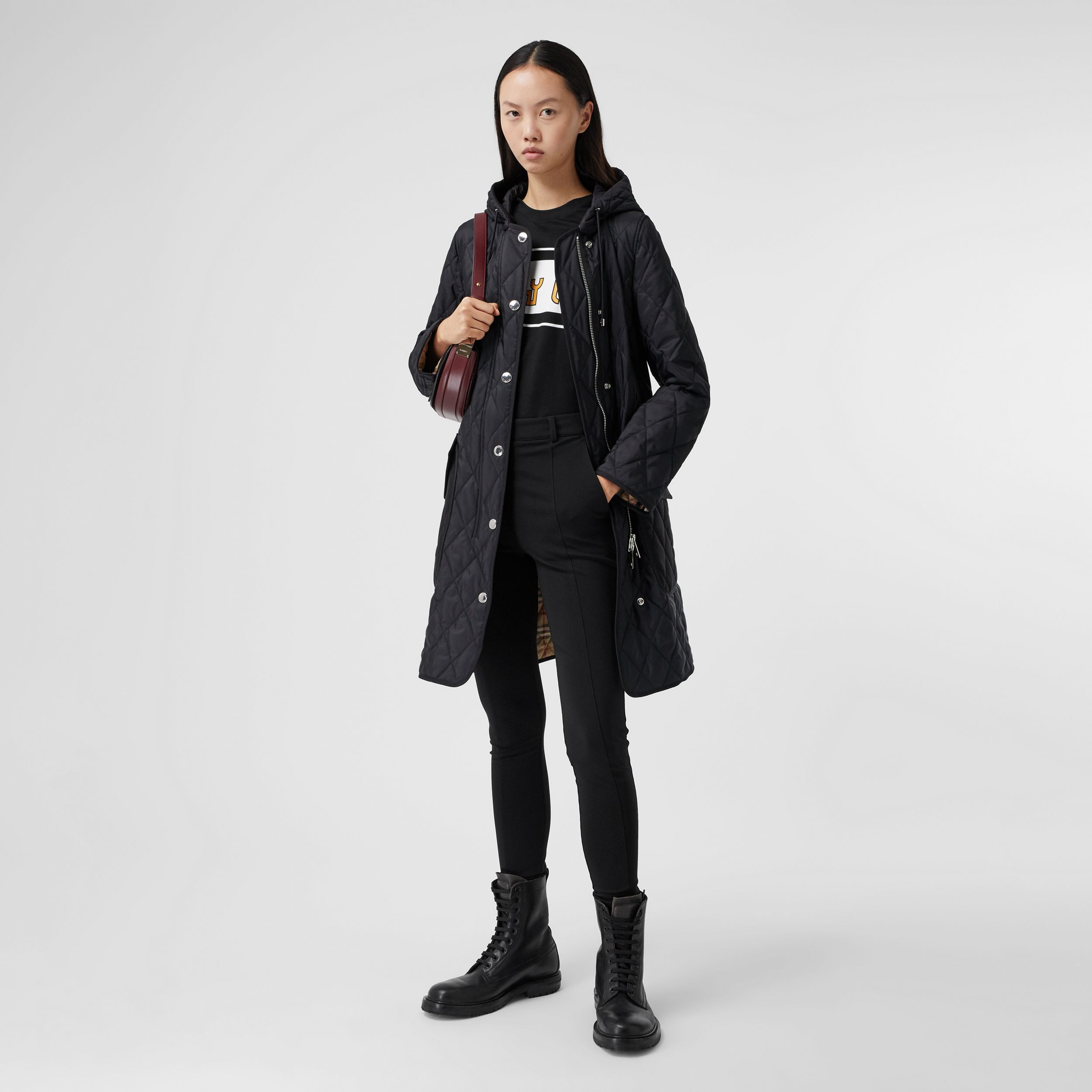 Diamond Quilted Thermoregulated Hooded Coat in Black - Women | Burberry - 1