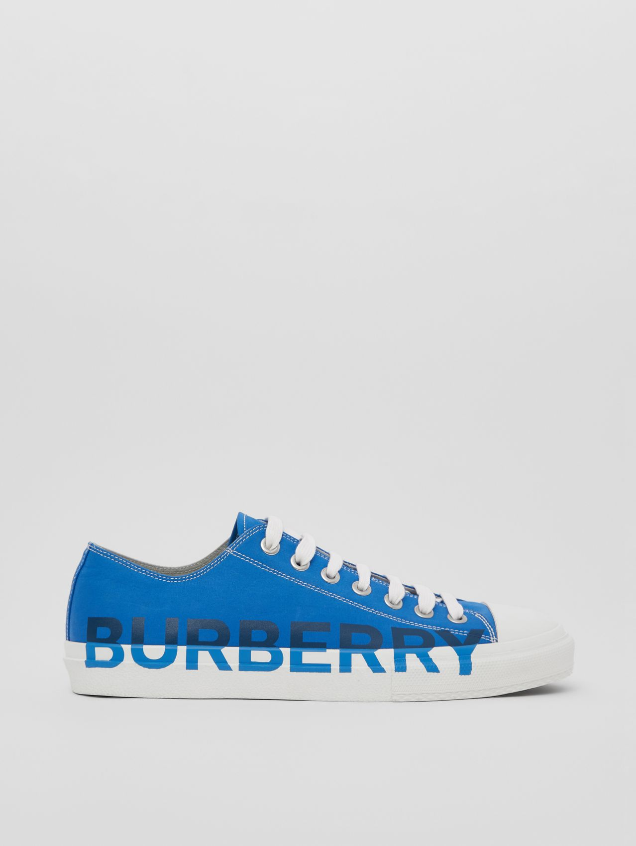 Logo Print Cotton Gabardine Sneakers in Warm Royal Blue