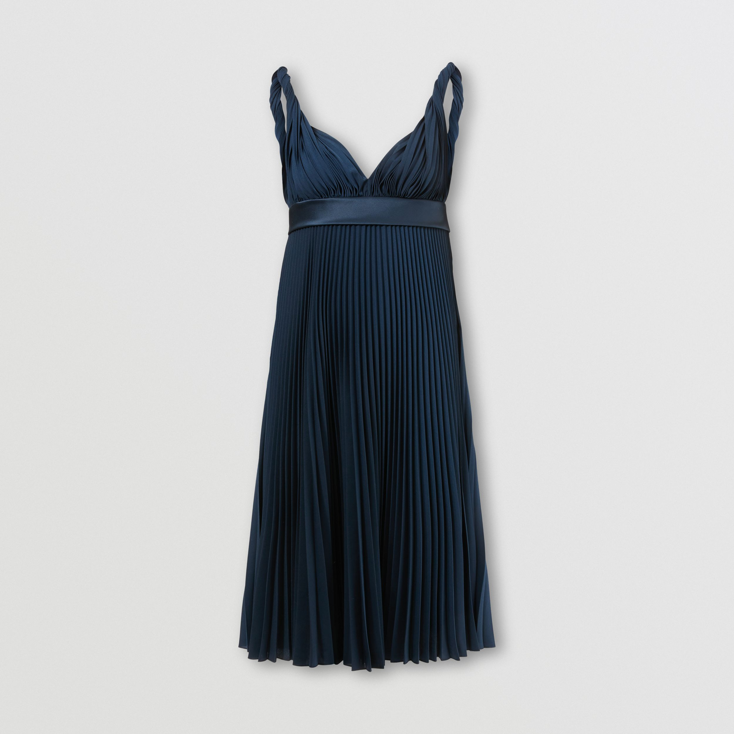 Pleated Crepe De Chine Empire-line Dress in Ink Blue - Women | Burberry United Kingdom - 4