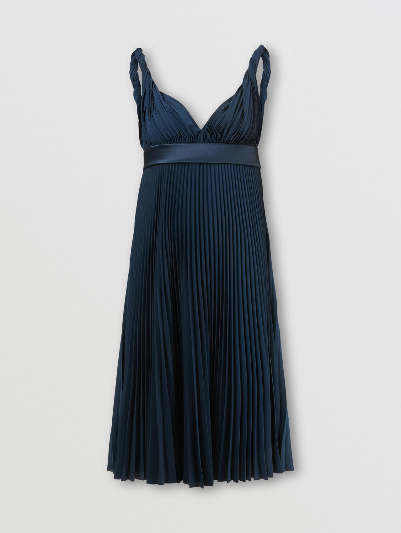Pleated Crepe De Chine Empire-line Dress in Ink Blue
