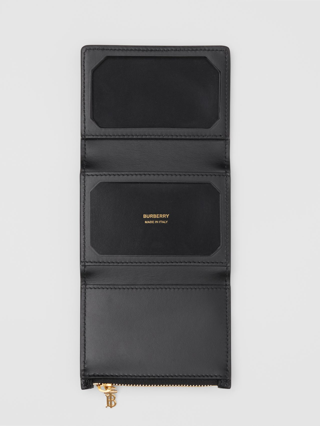 Grainy Leather ID Card Case in Black
