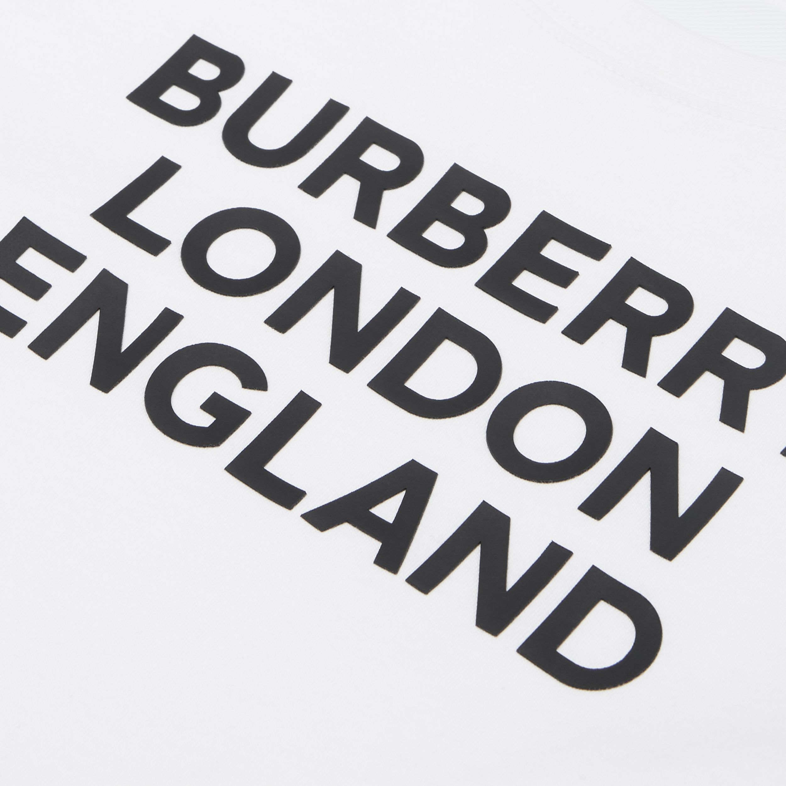 Logo Print Cotton T-shirt in White | Burberry - 2