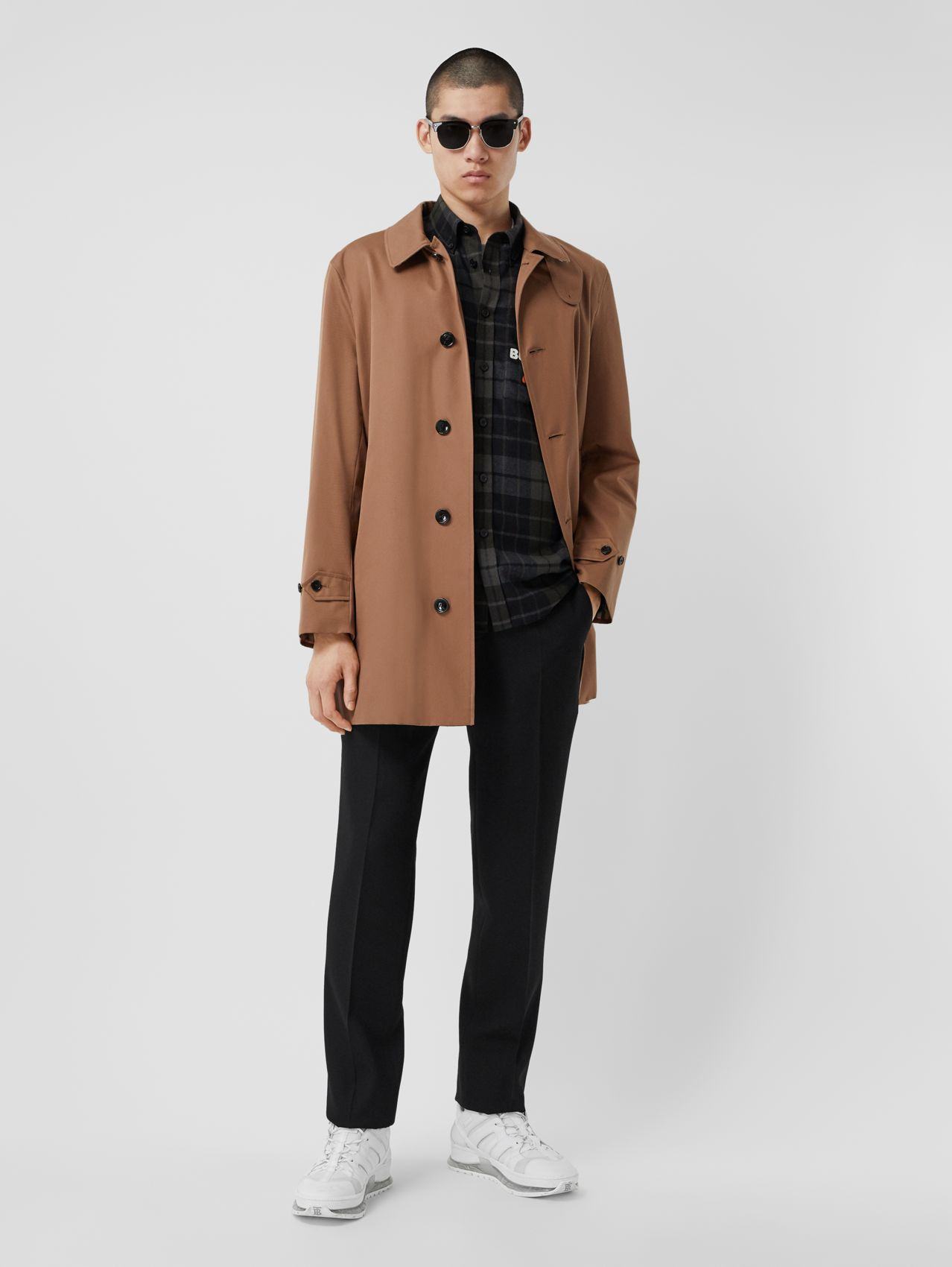 Organic Cotton Gabardine Car Coat in Dusty Caramel