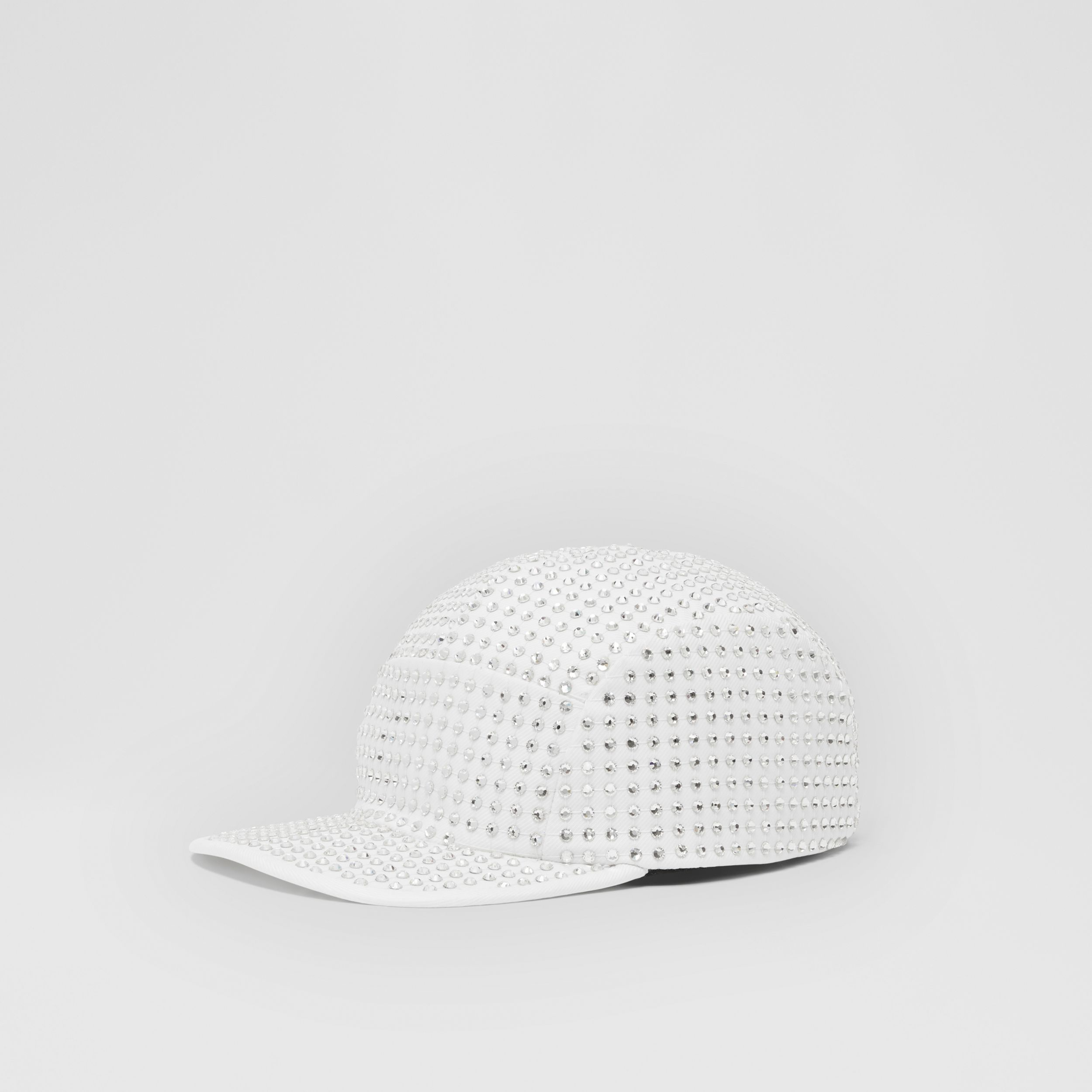 Crystal Mesh Detail Cotton Twill Cap in Optic White | Burberry Canada - 4