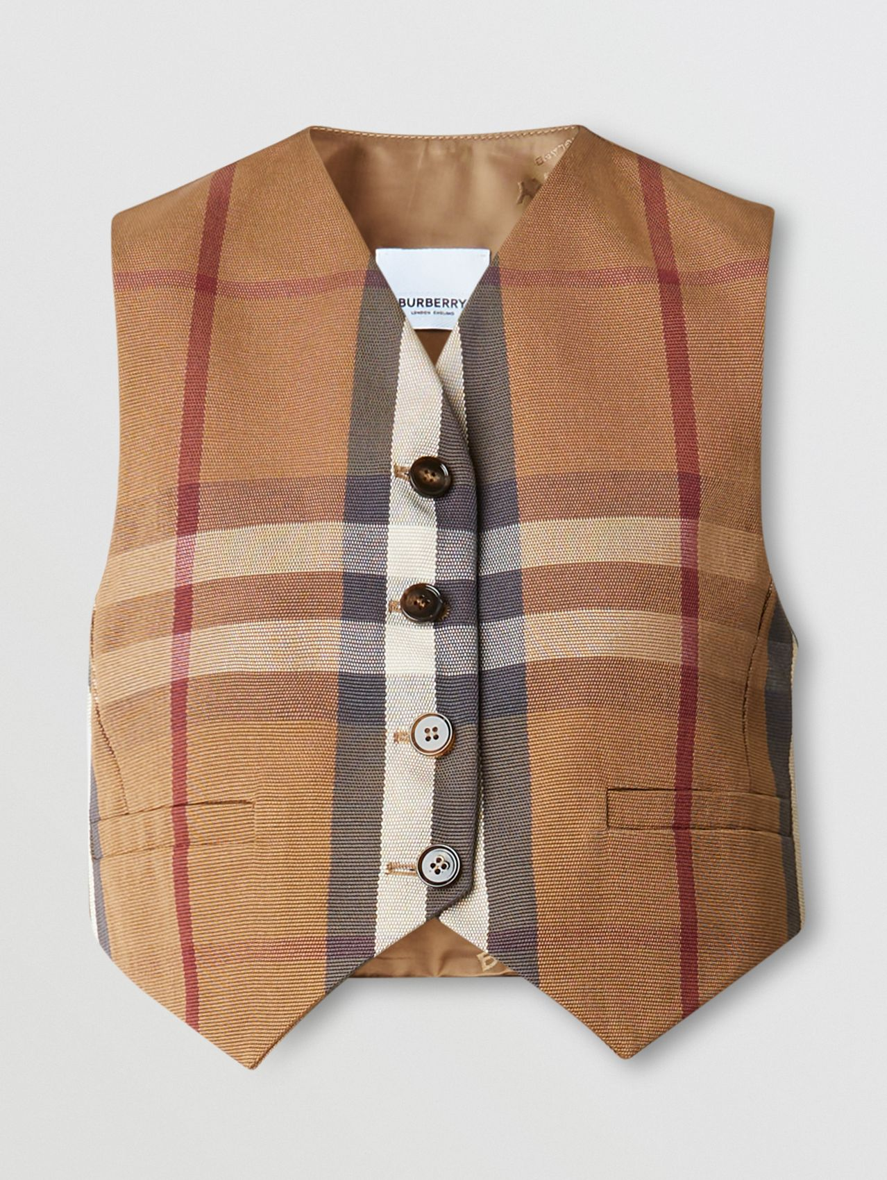 Check Technical Cotton Cropped Waistcoat in Birch Brown