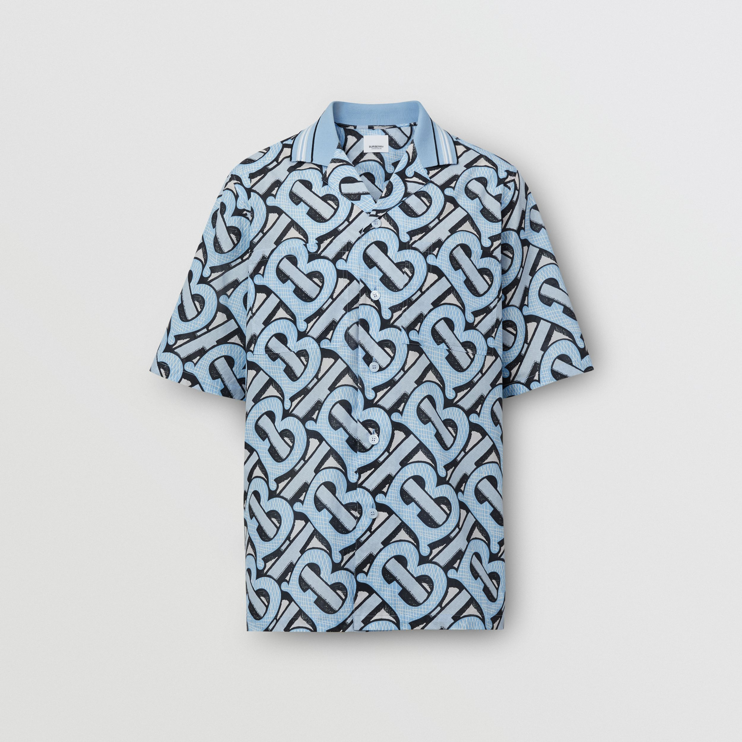 Short-sleeve Monogram Print Cotton Shirt – Unisex in Pale Azure | Burberry Australia - 1
