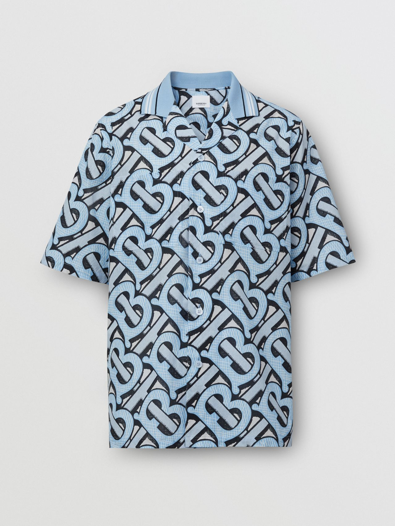 Short-sleeve Monogram Print Cotton Shirt – Unisex in Pale Azure