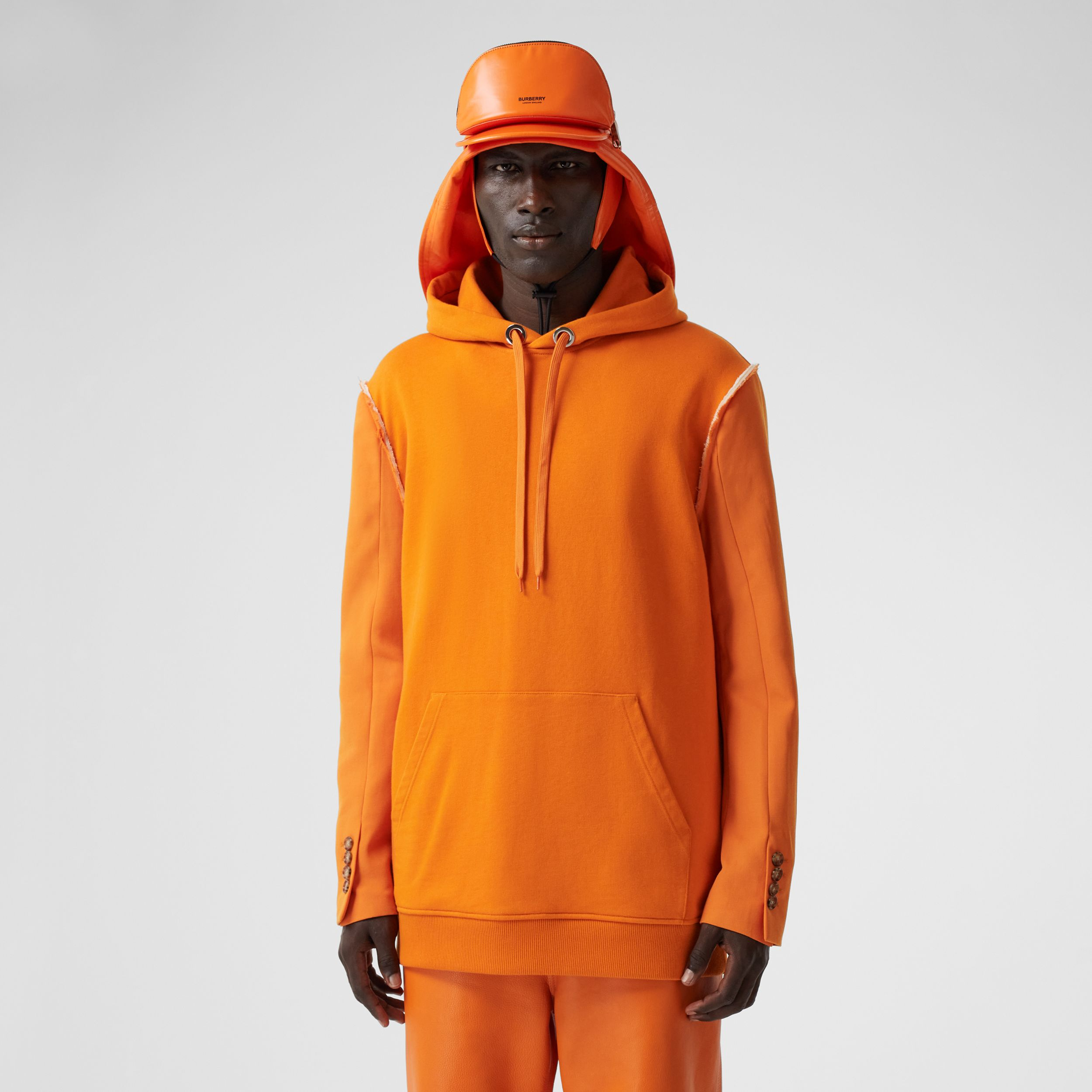 Cotton and Wool Reconstructed Hoodie in Deep Orange - Men | Burberry United Kingdom - 1