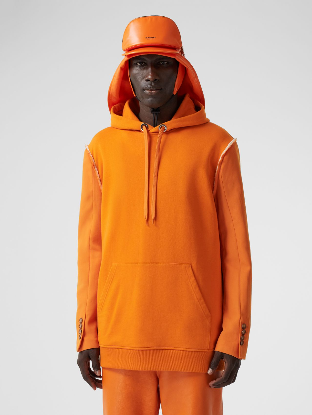 Cotton and Wool Reconstructed Hoodie in Deep Orange