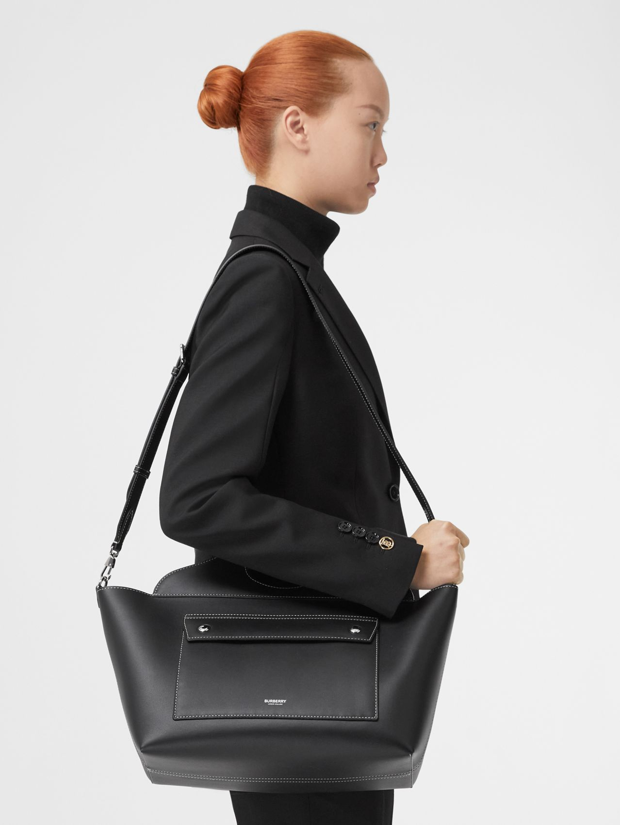 Small Leather Soft Pocket Tote (Black)