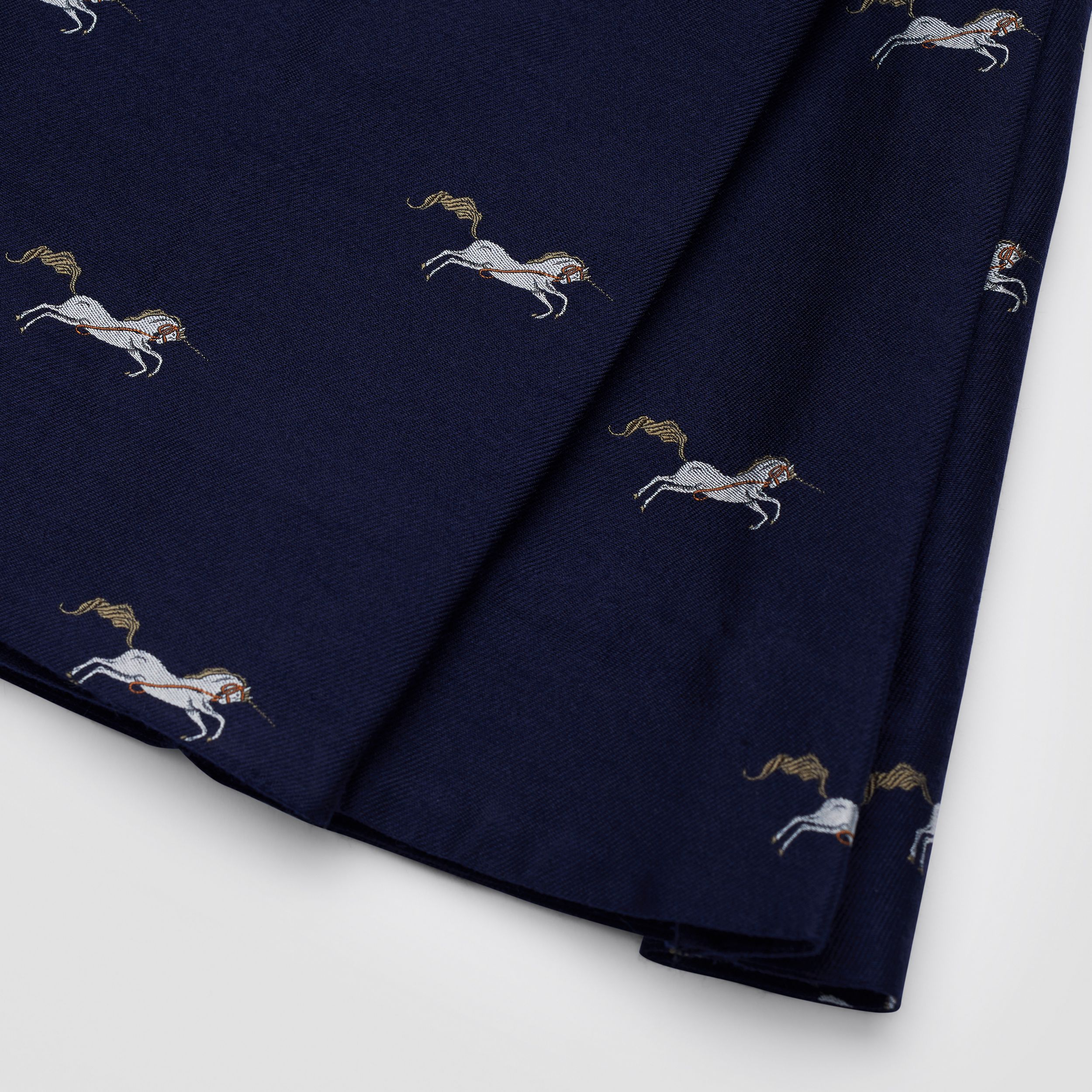 Unicorn Wool Silk Jacquard Pleated Skirt in Navy | Burberry - 2