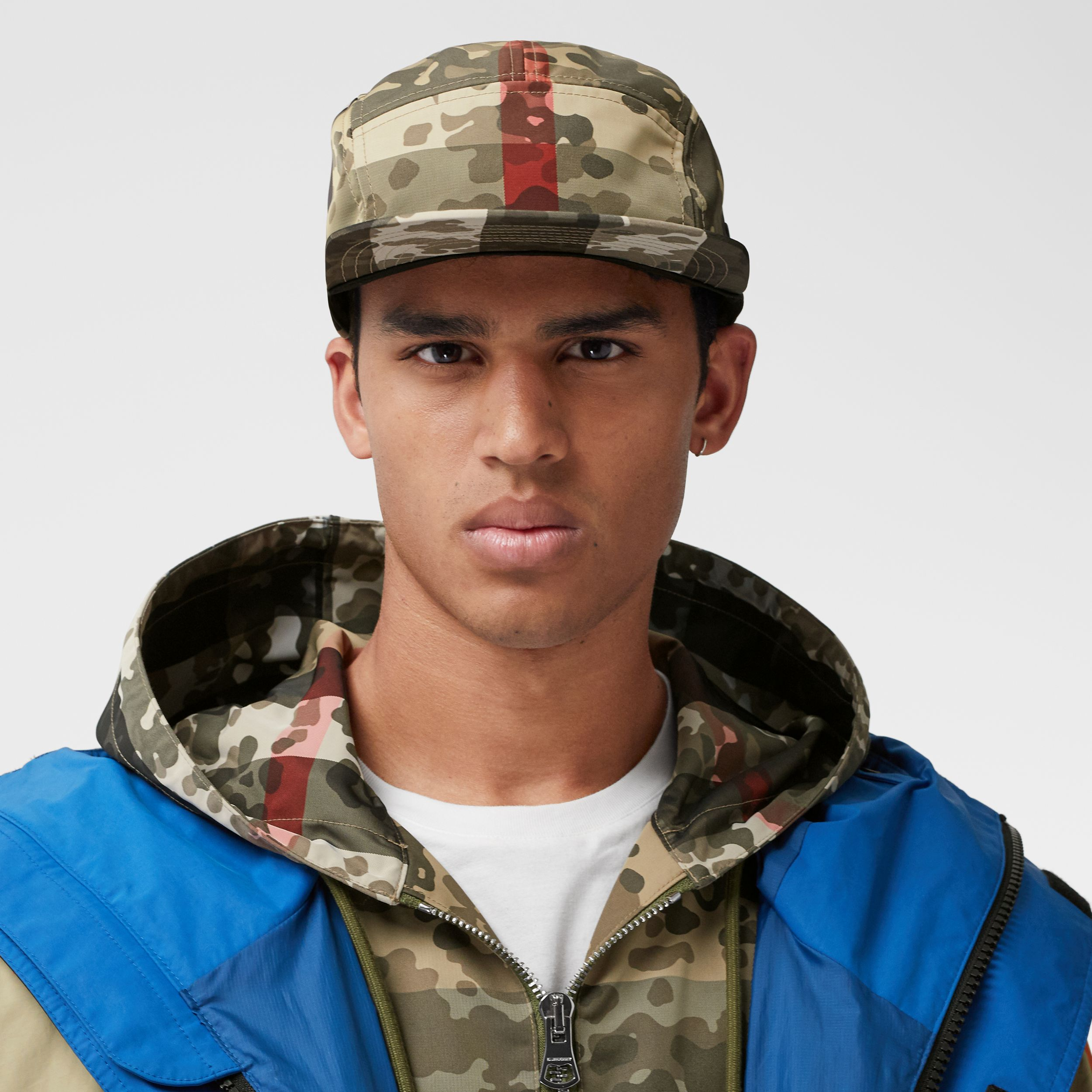 Camouflage Check Nylon Cap in Archive Beige | Burberry - 4