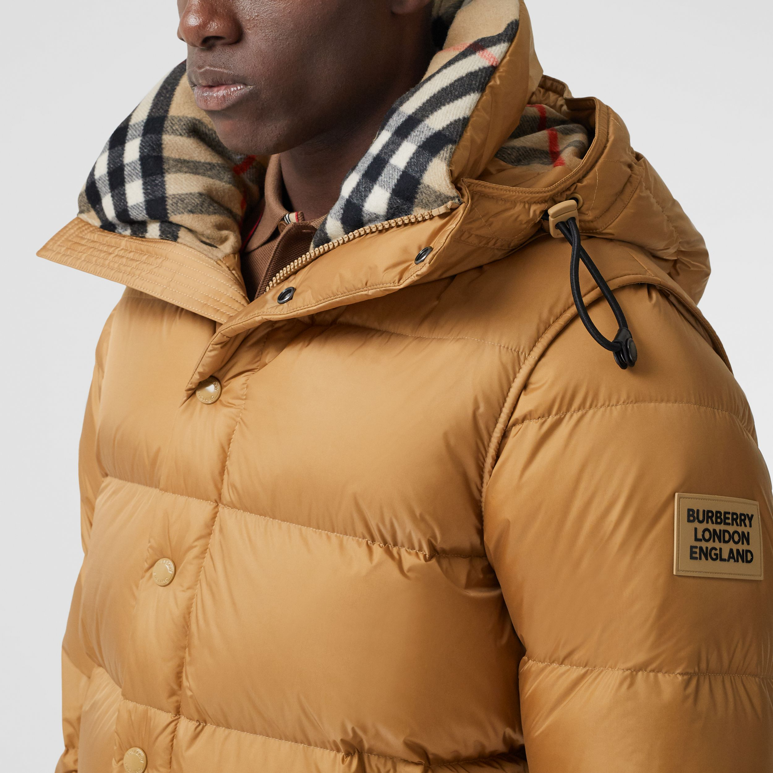 Detachable Sleeve Hooded Puffer Jacket in Warm Honey - Men | Burberry - 2