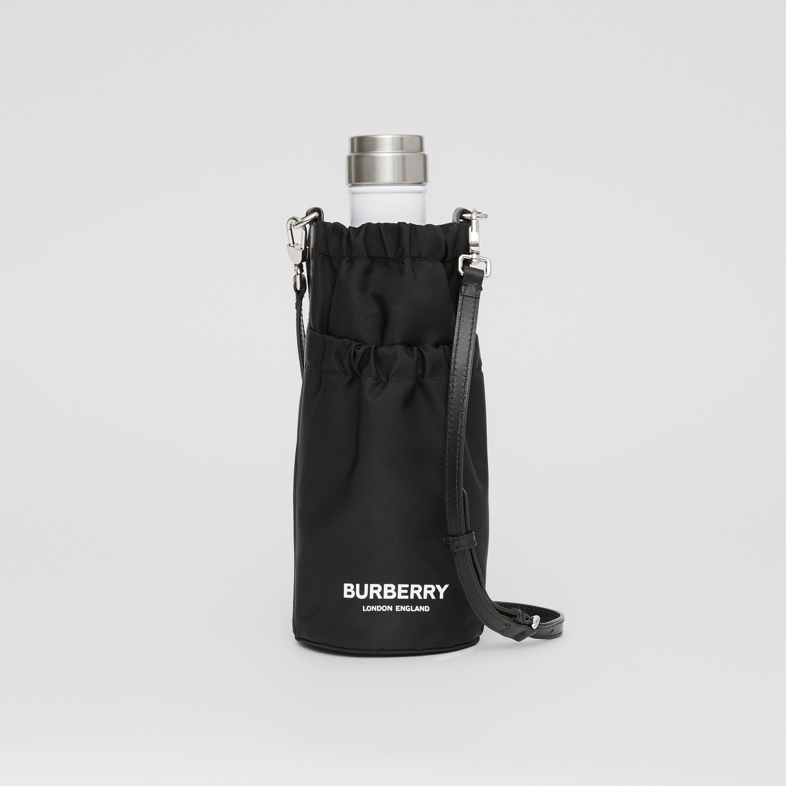 Logo Print ECONYL® Water Bottle Holder in Black/white | Burberry Hong Kong S.A.R. - 1