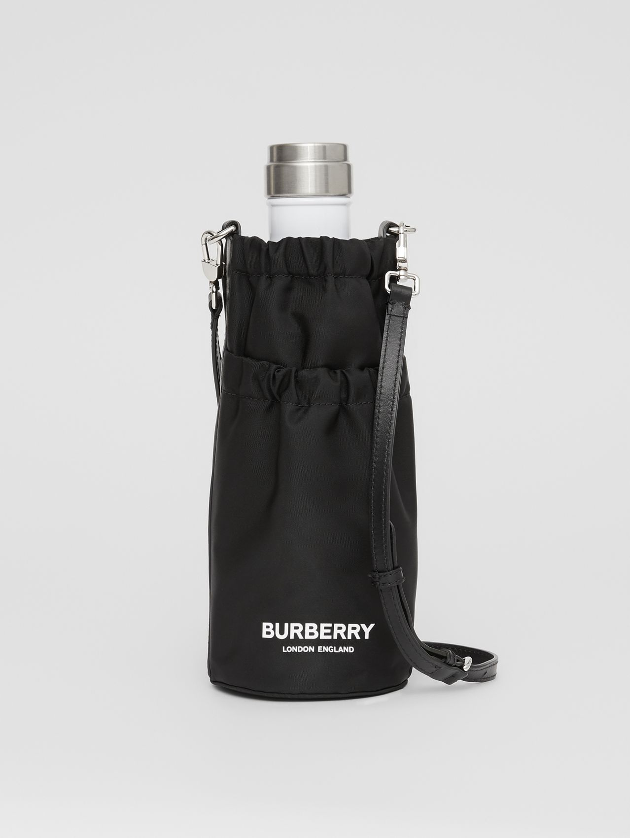 Logo Print ECONYL® Water Bottle Holder in Black/white