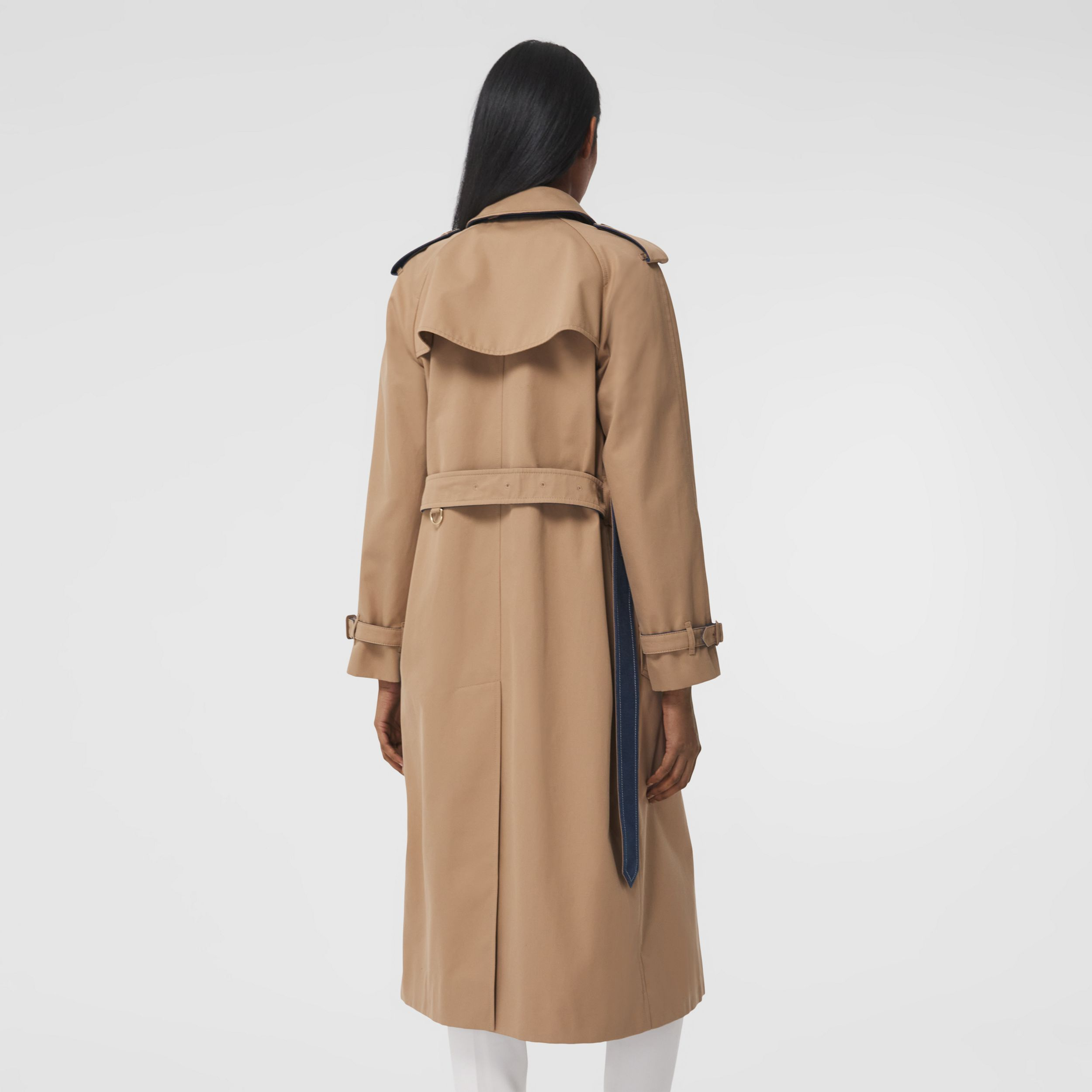 Denim Detail Cotton Gabardine Trench Coat in Camel - Women | Burberry - 3