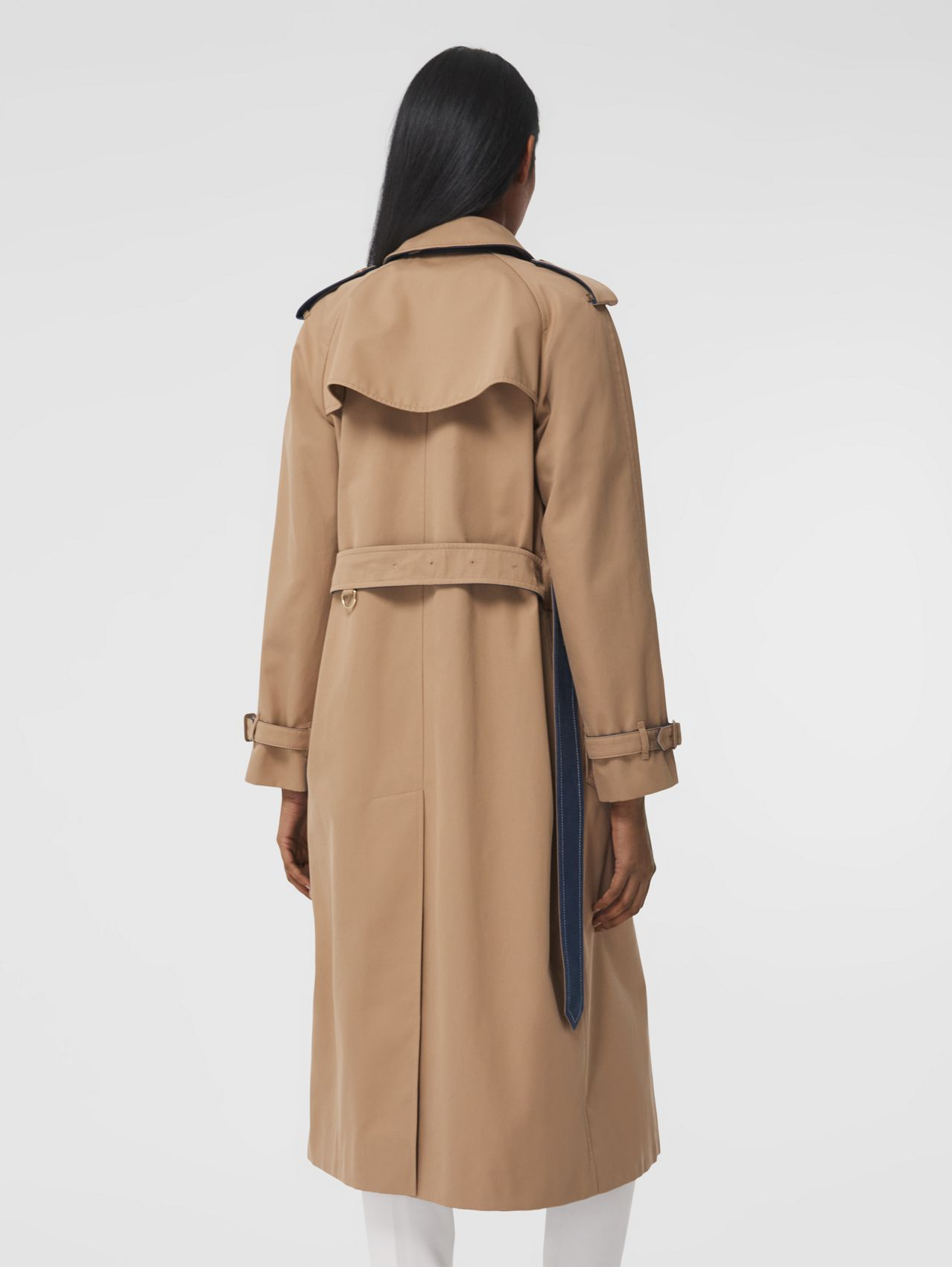 Denim Detail Cotton Gabardine Trench Coat in Camel