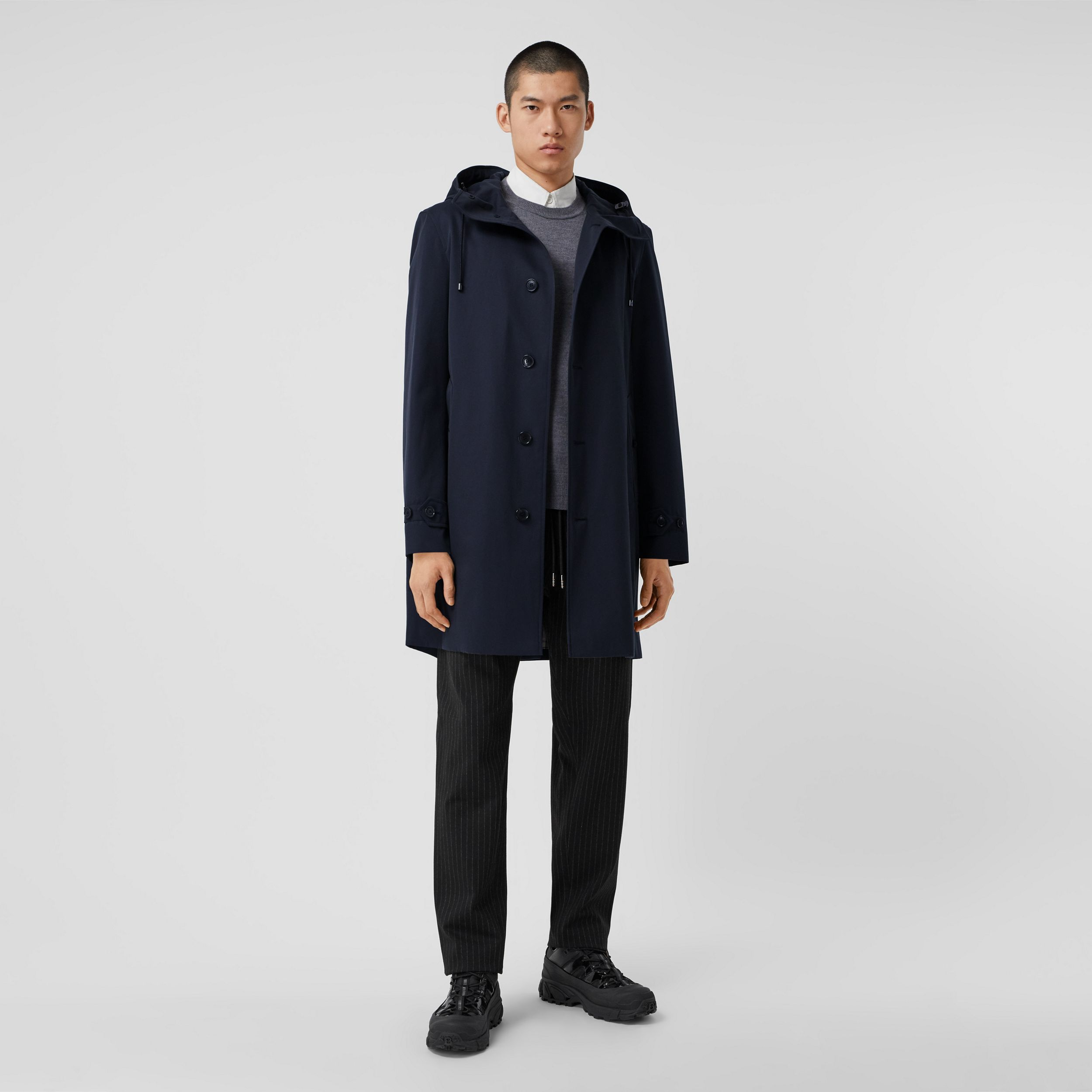 Cotton Gabardine Hooded Coat in Midnight - Men | Burberry - 1