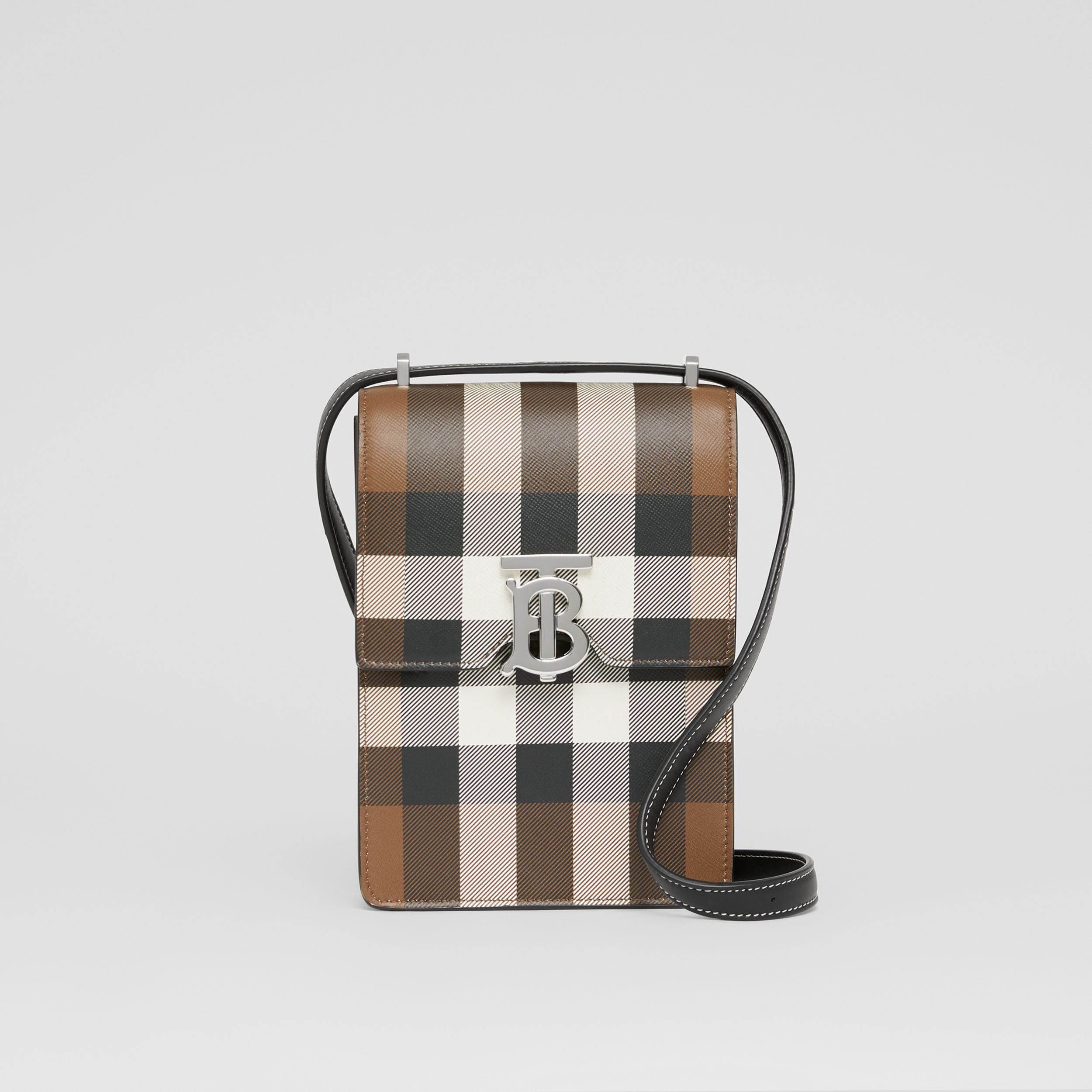 Check Print Leather Robin Bag in Dark Birch Brown | Burberry - 1