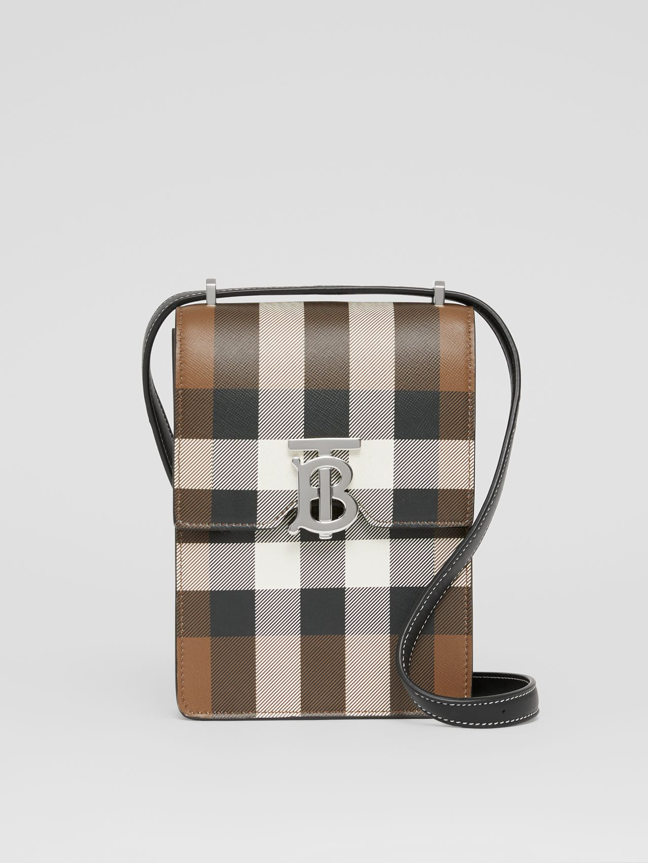Check Print Leather Robin Bag in Dark Birch Brown