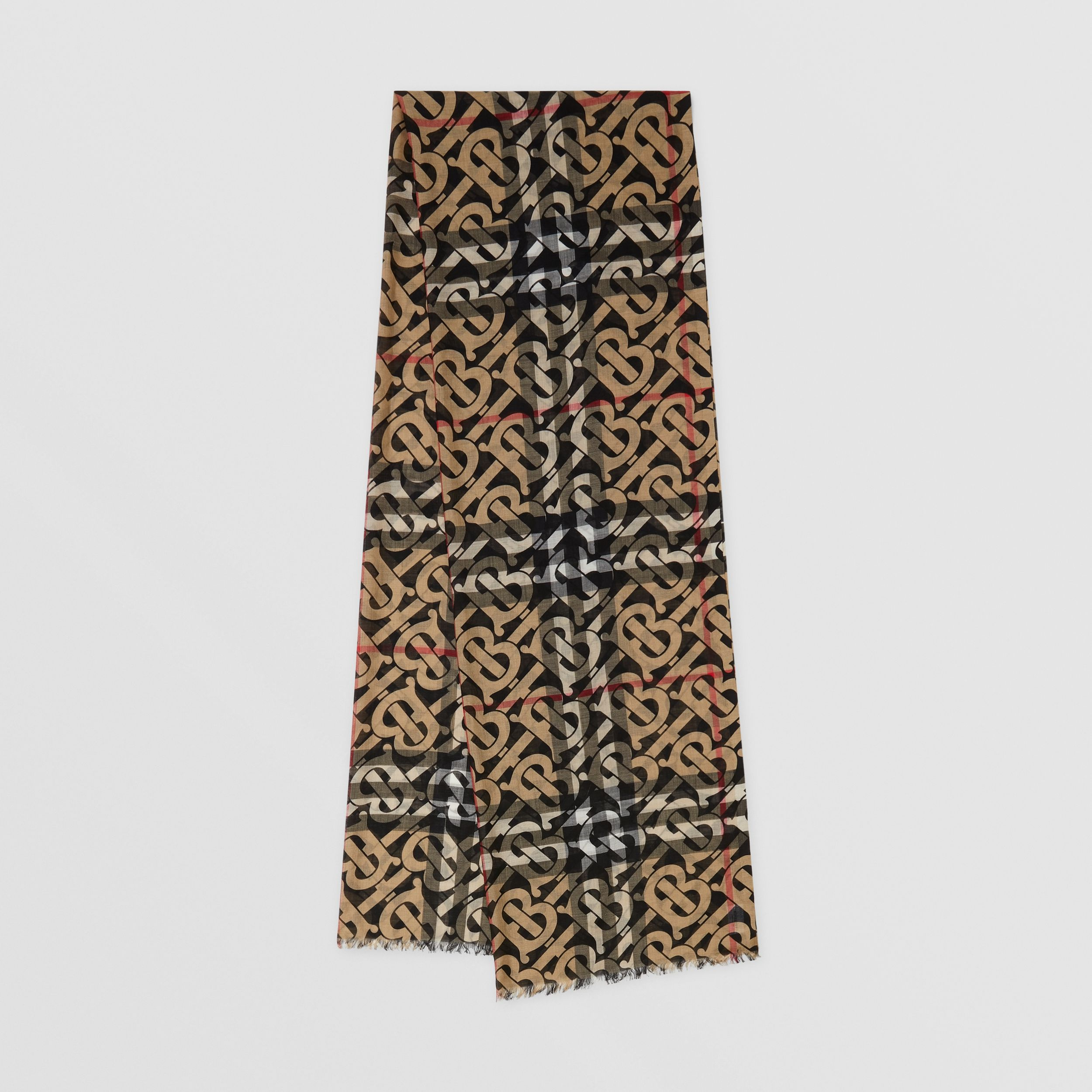 Monogram Print Lightweight Check Wool Silk Scarf in Archive Beige | Burberry Singapore - 1