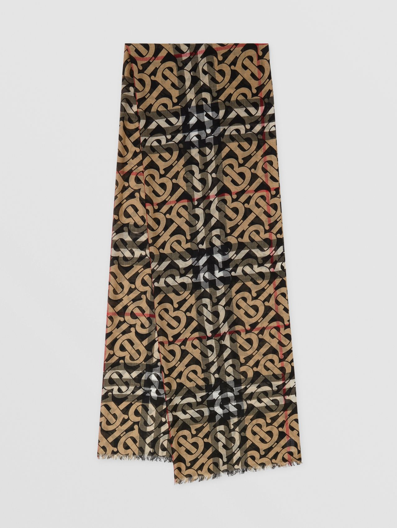 Monogram Print Lightweight Check Wool Silk Scarf in Archive Beige