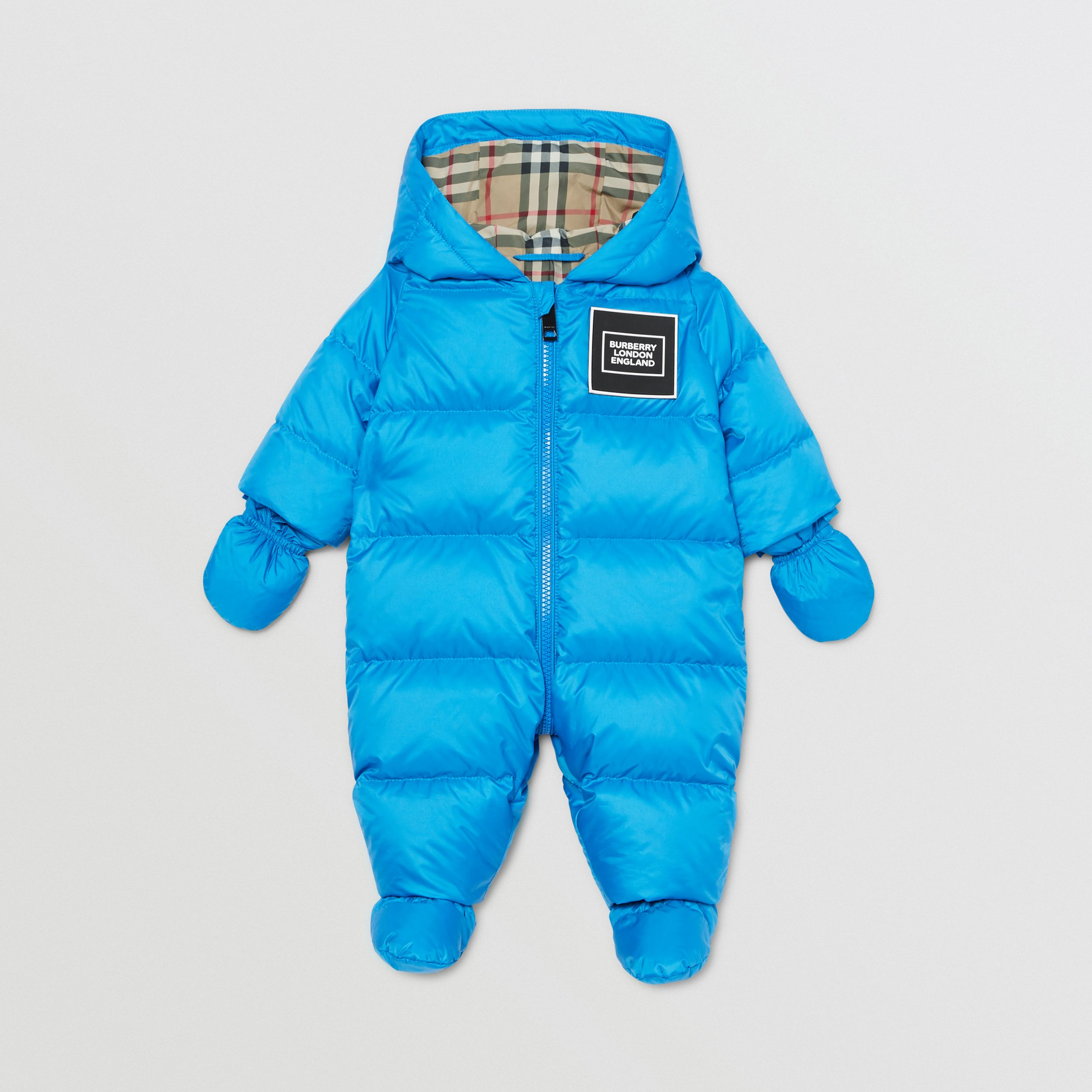 Logo Appliqué Puffer Suit in Cerulean Blue - Children | Burberry - 1