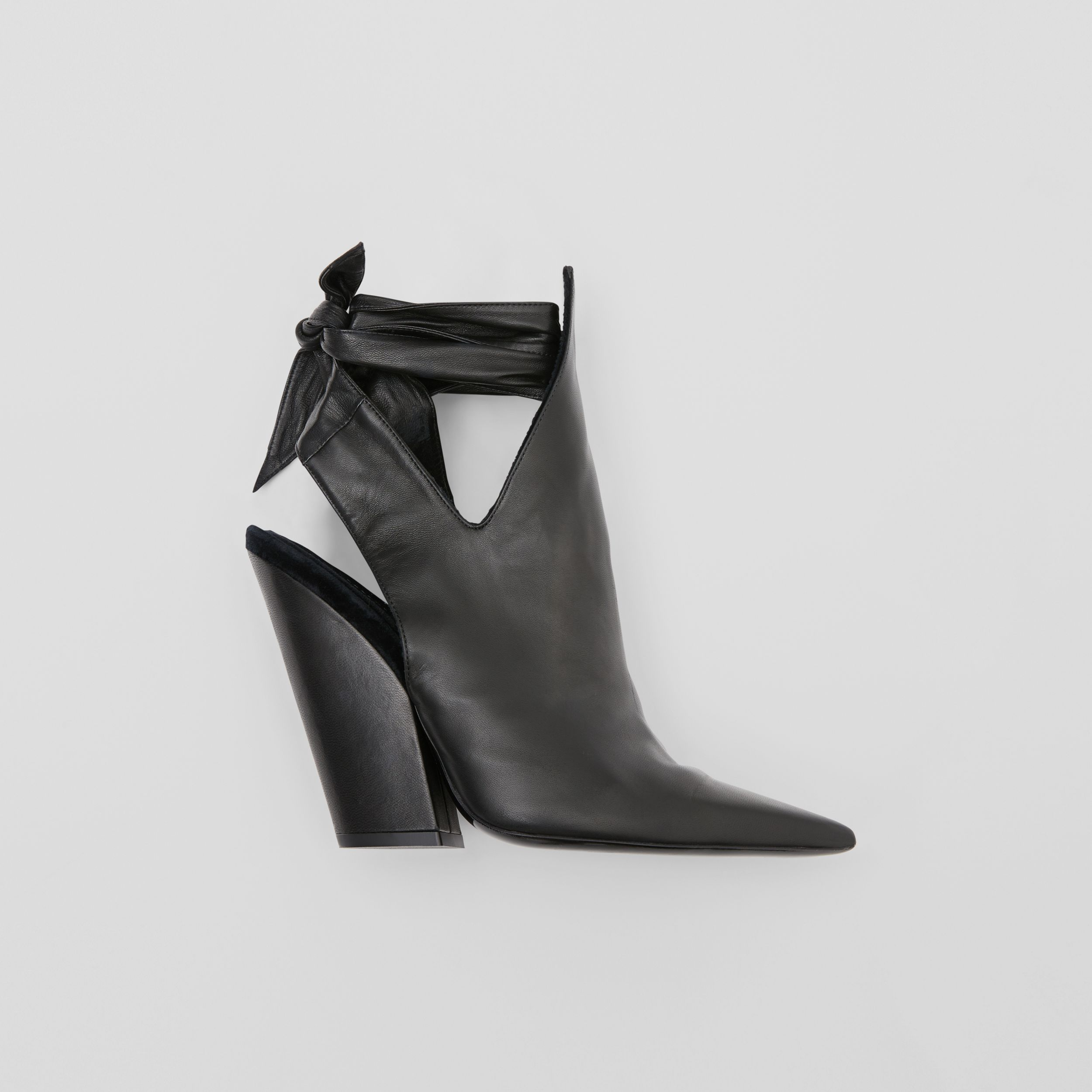 Tie Detail Leather Point-toe Mules in Black - Women | Burberry - 1