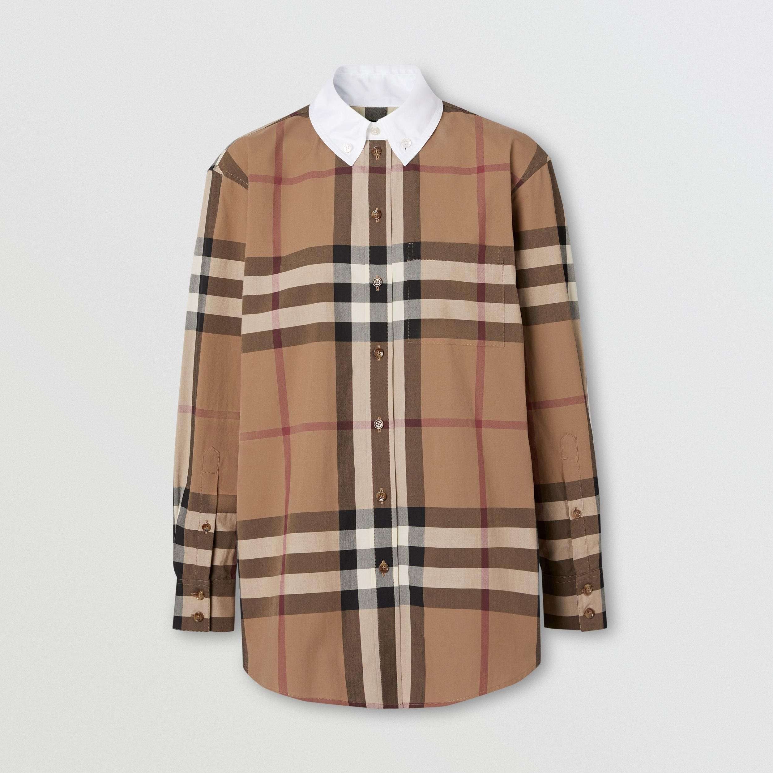 Check Cotton Poplin Oversized Shirt in Birch Brown - Women | Burberry - 4
